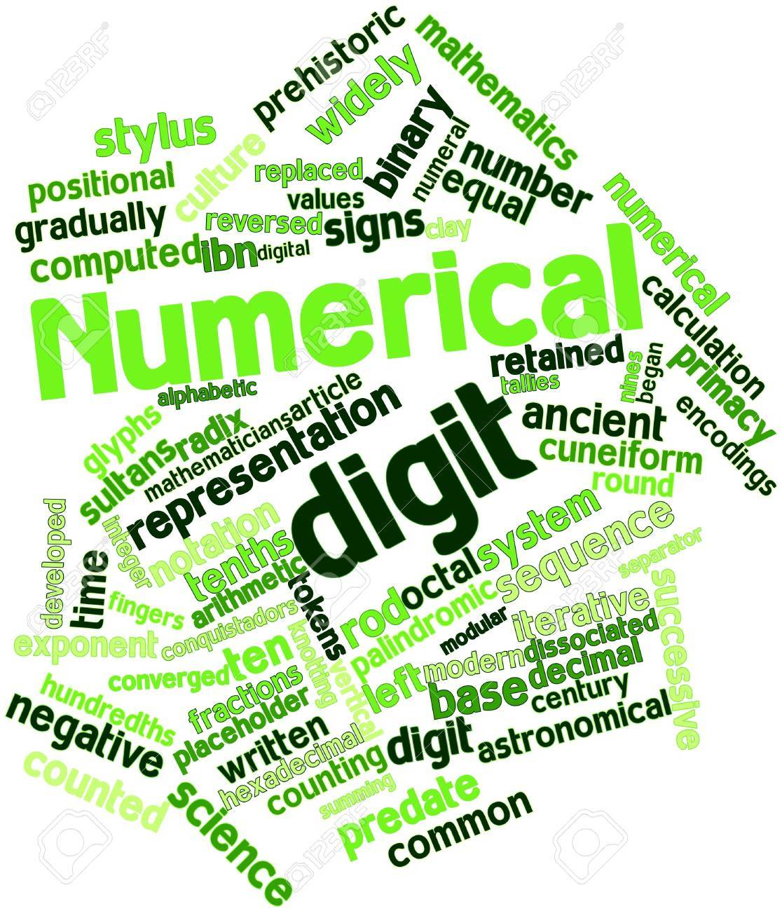 Abstract word cloud for Numerical digit with related tags and terms Stock Photo - 16632983