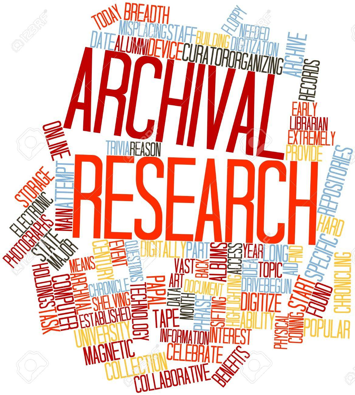 Abstract word cloud for Archival research with related tags and terms Stock Photo - 16633142