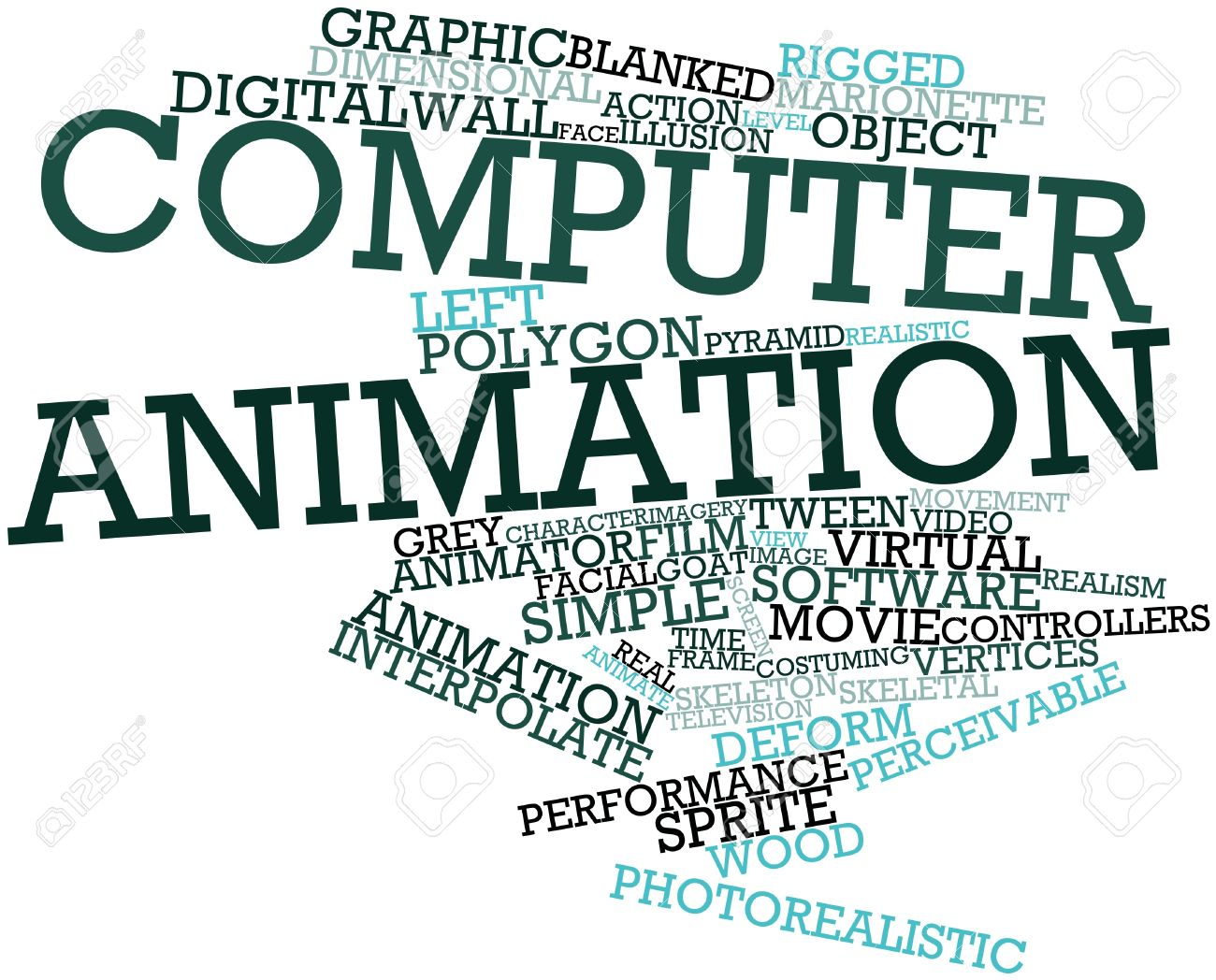 Abstract word cloud for computer animation with related tags and terms stock photo 16631216