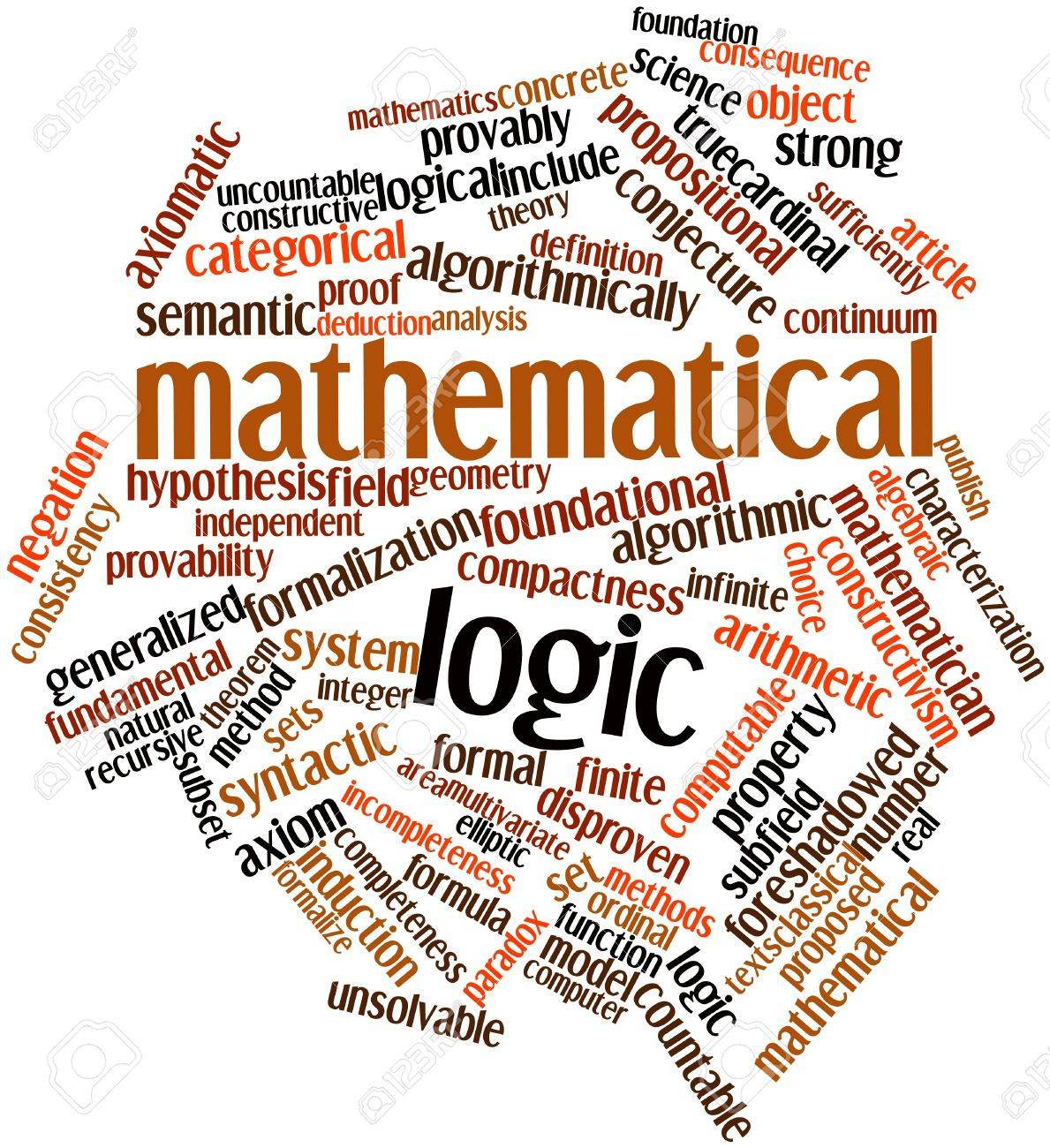 Abstract word cloud for Mathematical logic with related tags and terms Stock Photo - 16633341