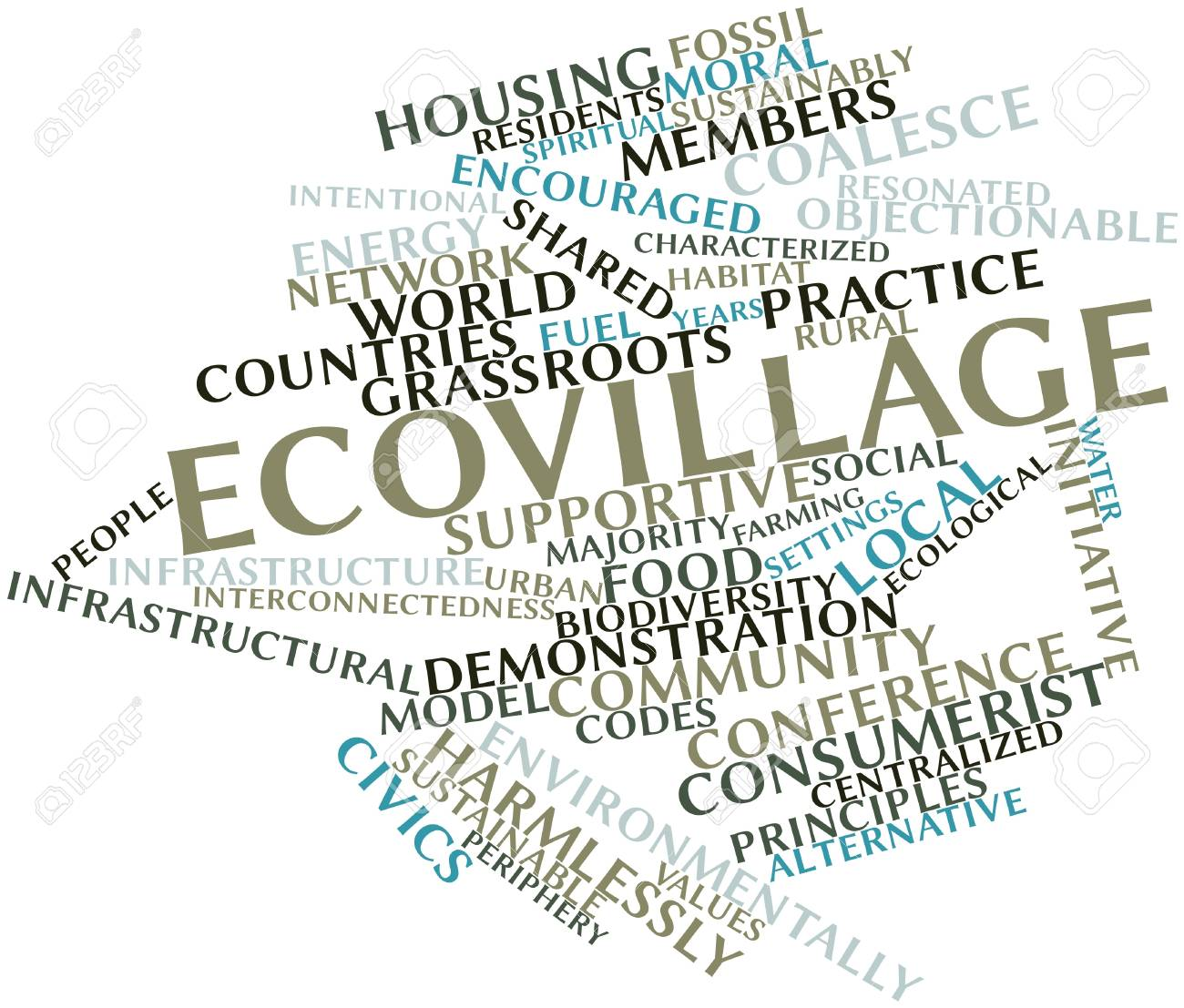 Abstract word cloud for Ecovillage with related tags and terms Stock Photo - 16631237