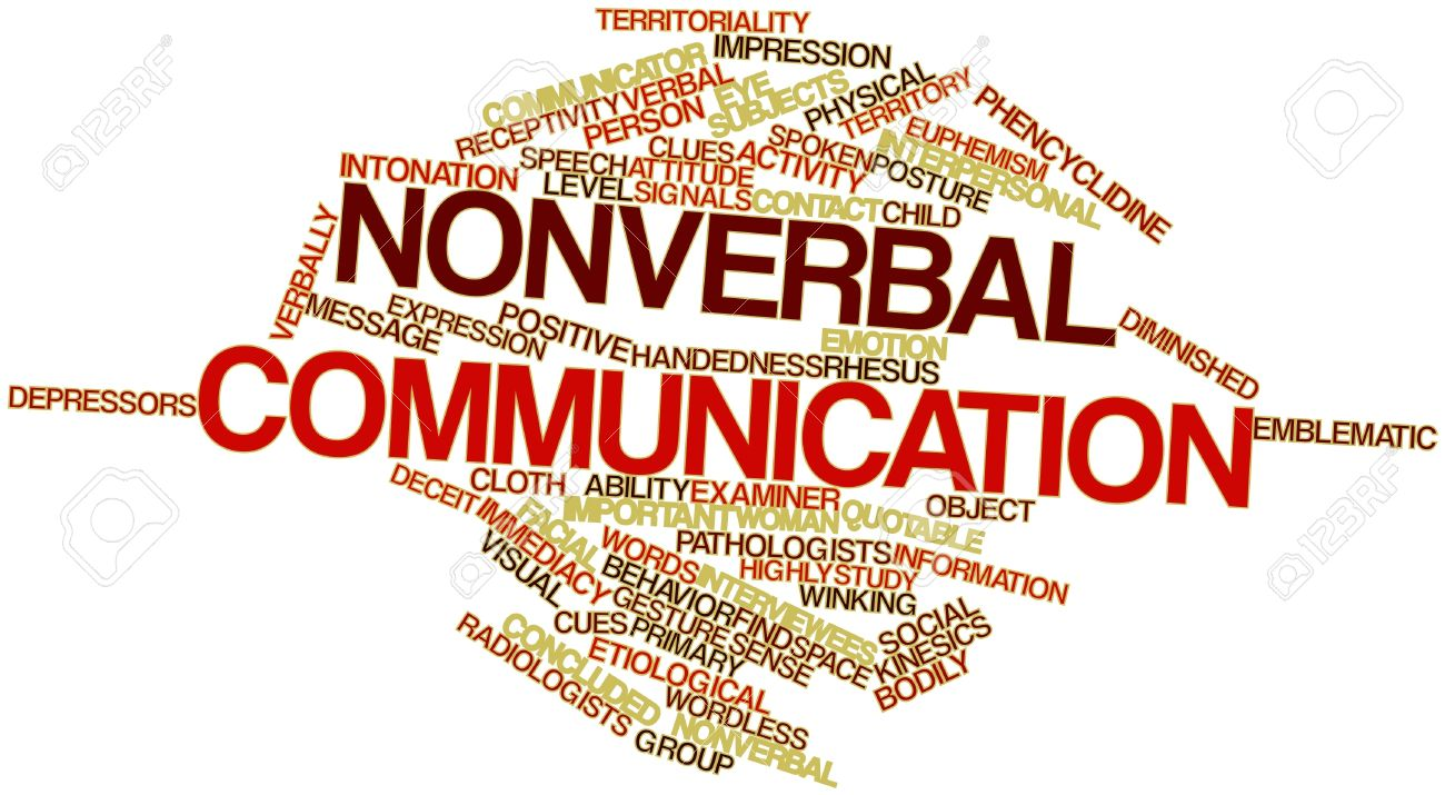 nonverbal communication and the physical aspects of delivery abstract word cloud for nonverbal communication related