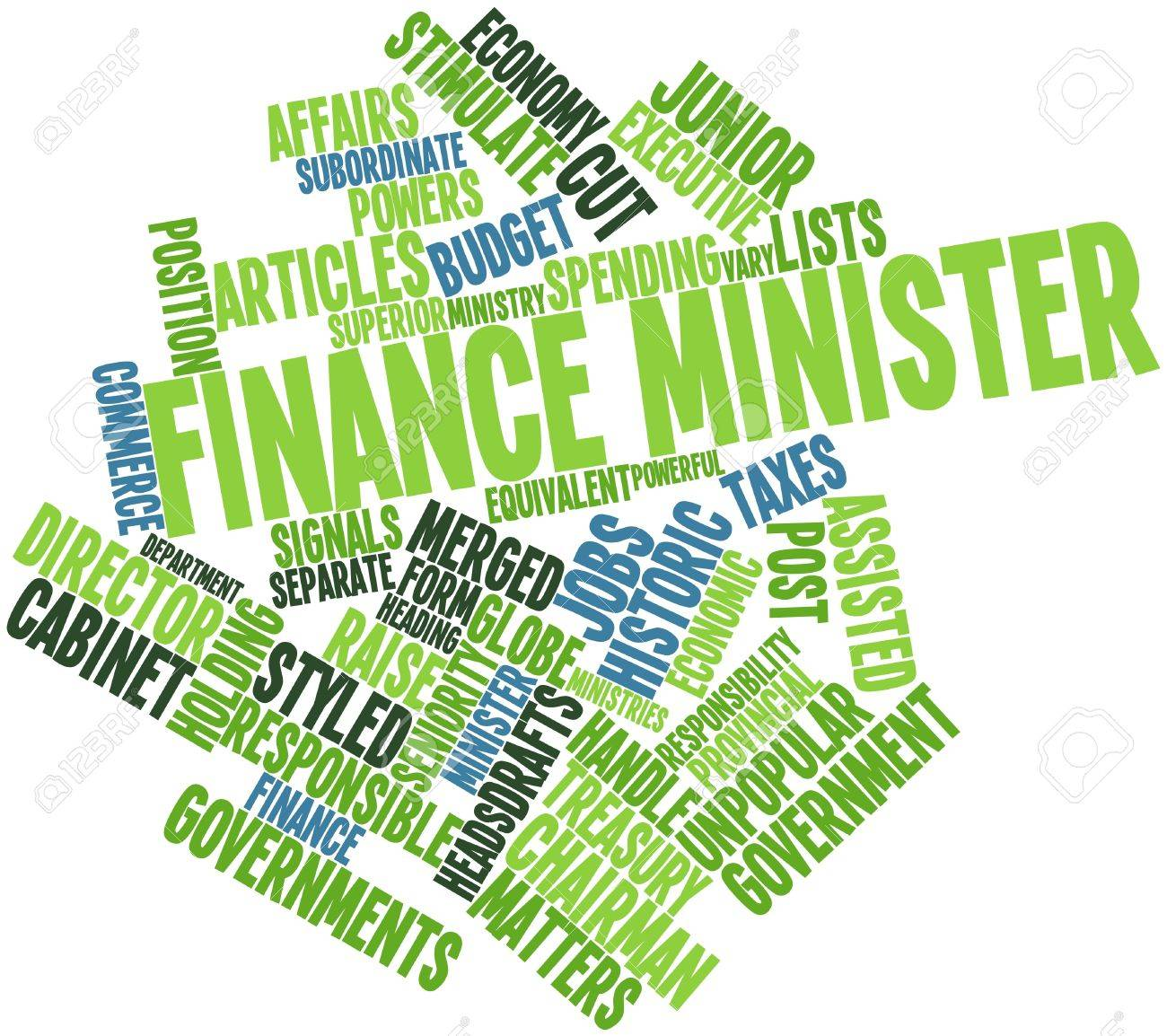 Abstract word cloud for Finance minister with related tags and terms Stock Photo - 16720288