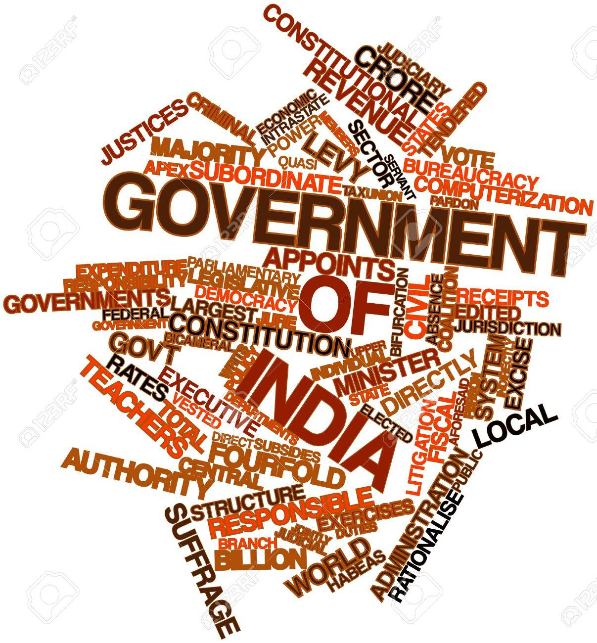 Abstract word cloud for Government of India with related tags and terms Stock Photo - 16720841