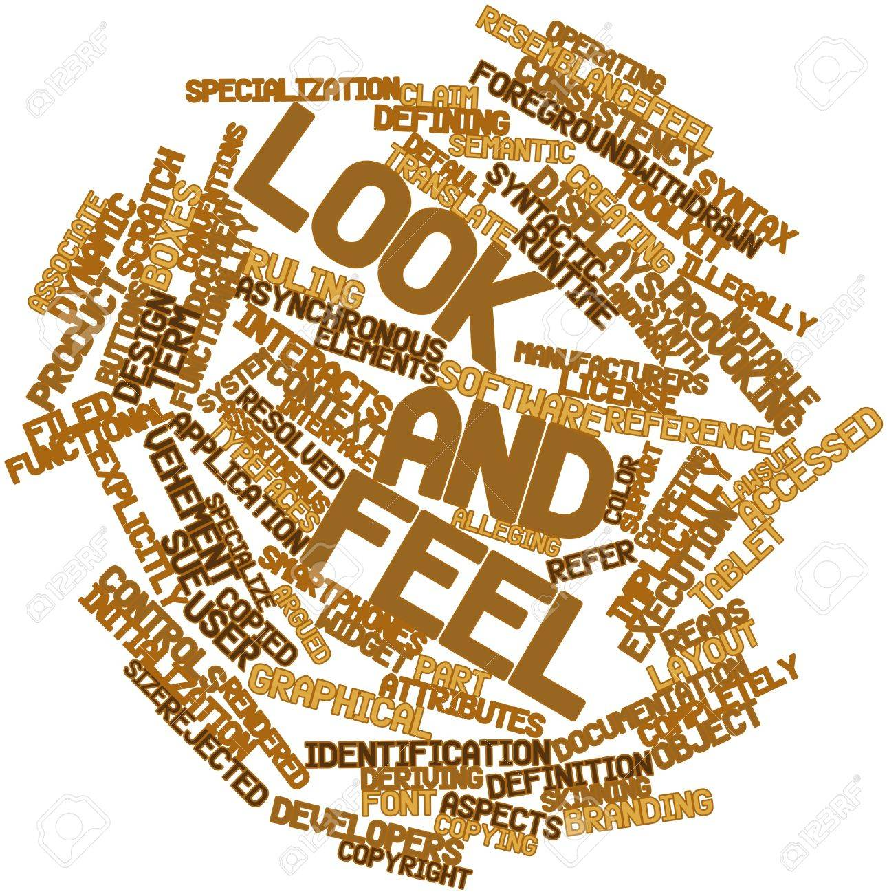 Abstract word cloud for Look and feel with related tags and terms Stock Photo - 16720922