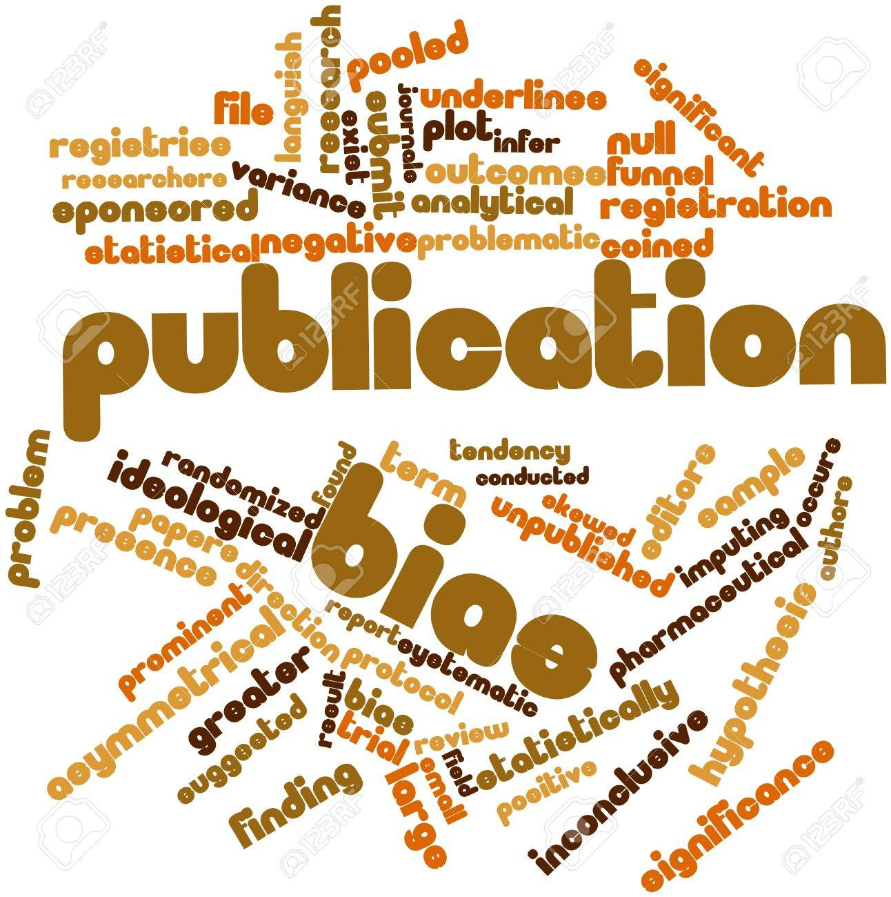 Abstract word cloud for Publication bias with related tags and terms Stock Photo - 16719891