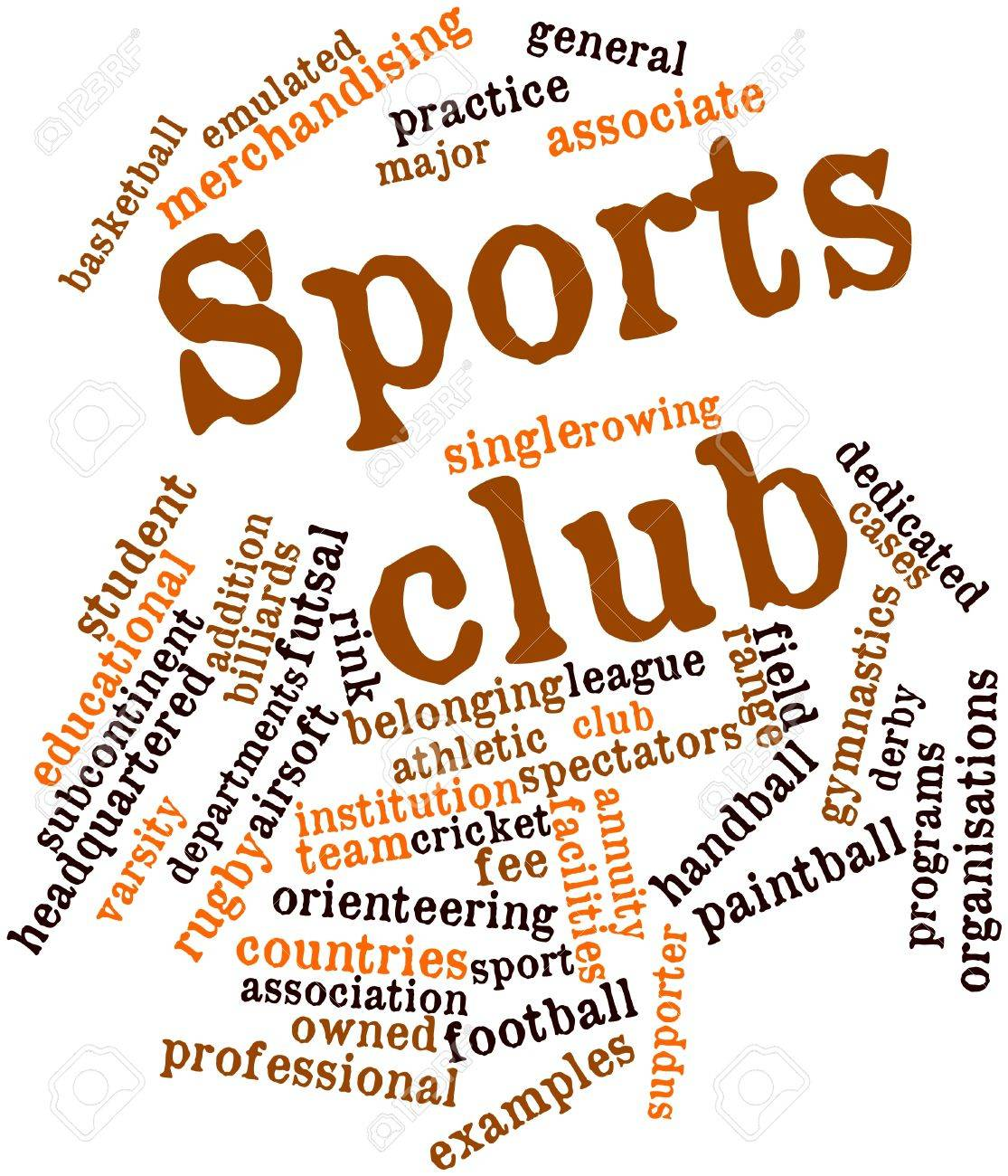 Abstract word cloud for Sports club with related tags and terms - 16720050