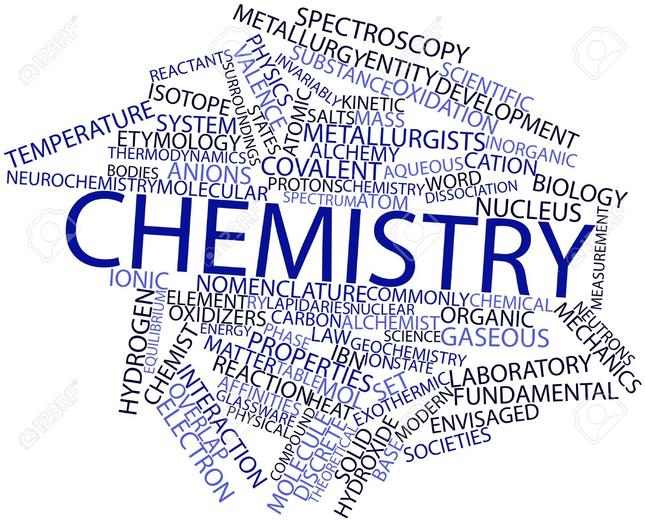 abstract word cloud for chemistry with related tags and terms stock