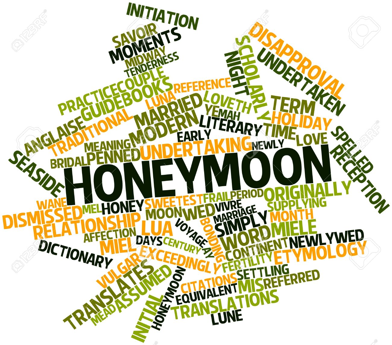 Abstract Word Cloud For Honeymoon With Related Tags And Terms Stock Photo