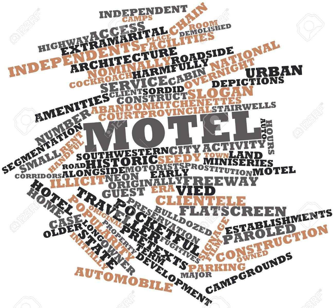 Abstract word cloud for Motel with related tags and terms Stock Photo - 16739259