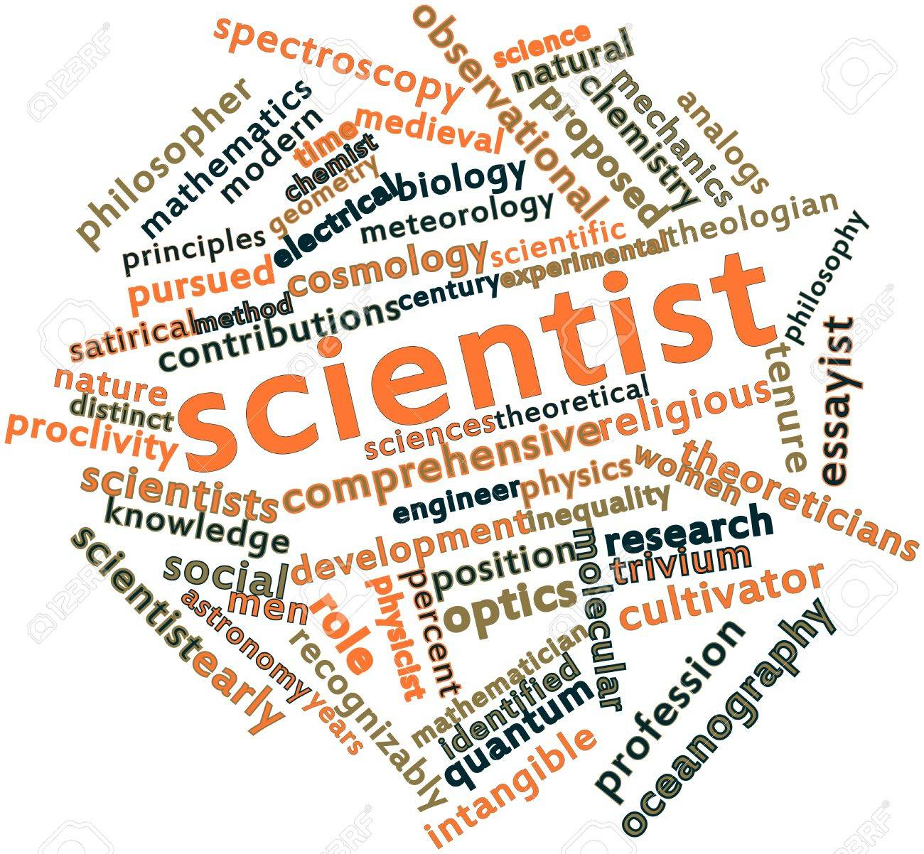 Abstract word cloud for Scientist with related tags and terms Stock Photo - 16739705