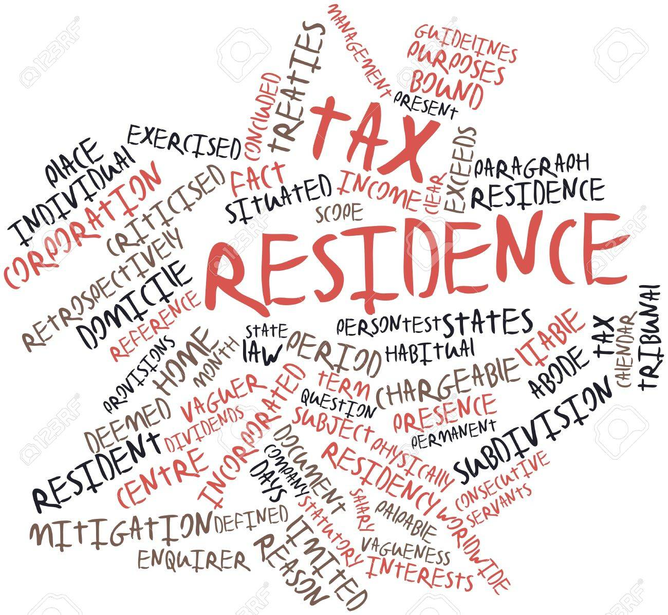 Abstract word cloud for Tax residence with related tags and terms Stock Photo - 16772779