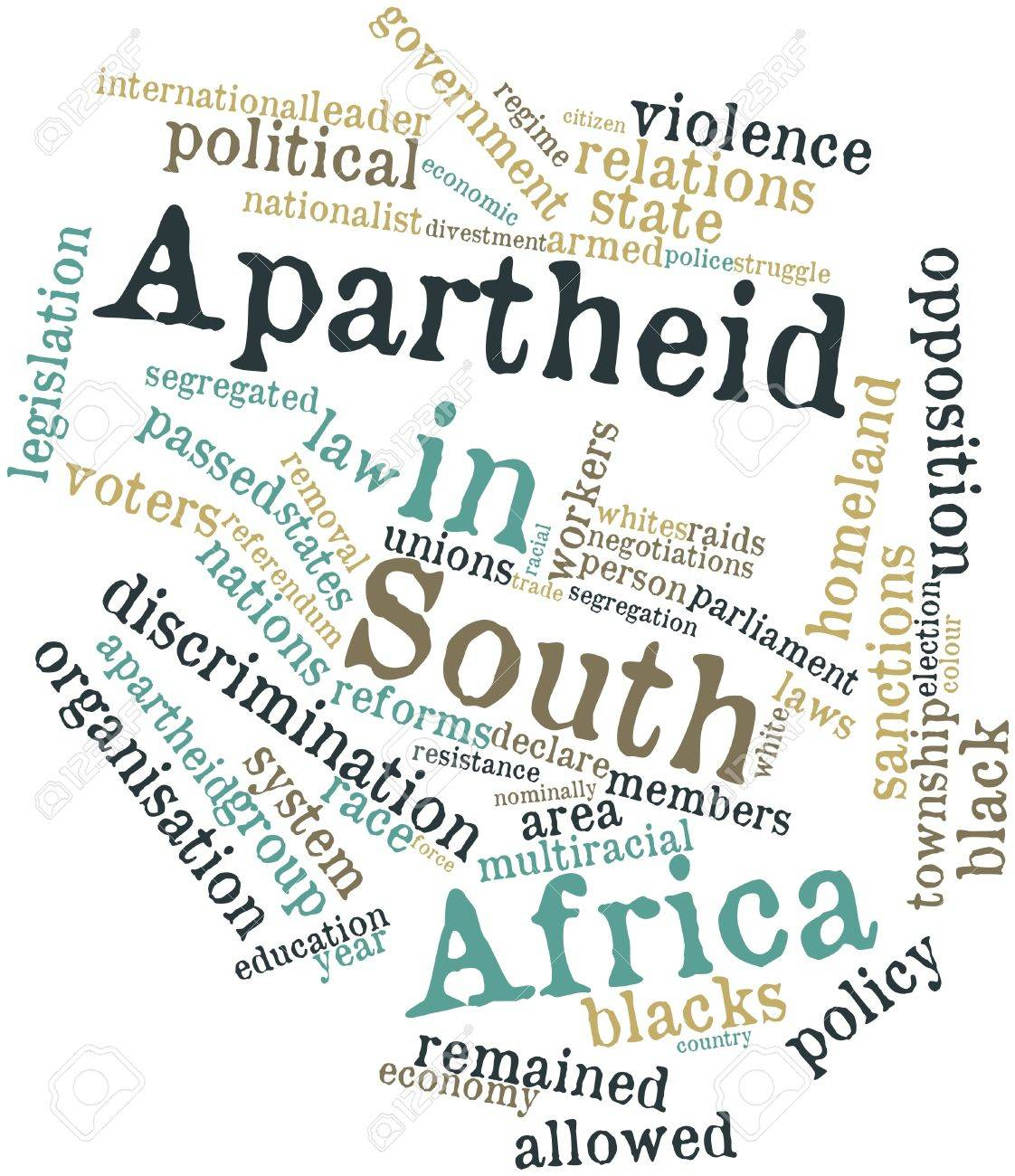 Abstract word cloud for Apartheid in South Africa with related tags and terms Stock Photo - 16982795