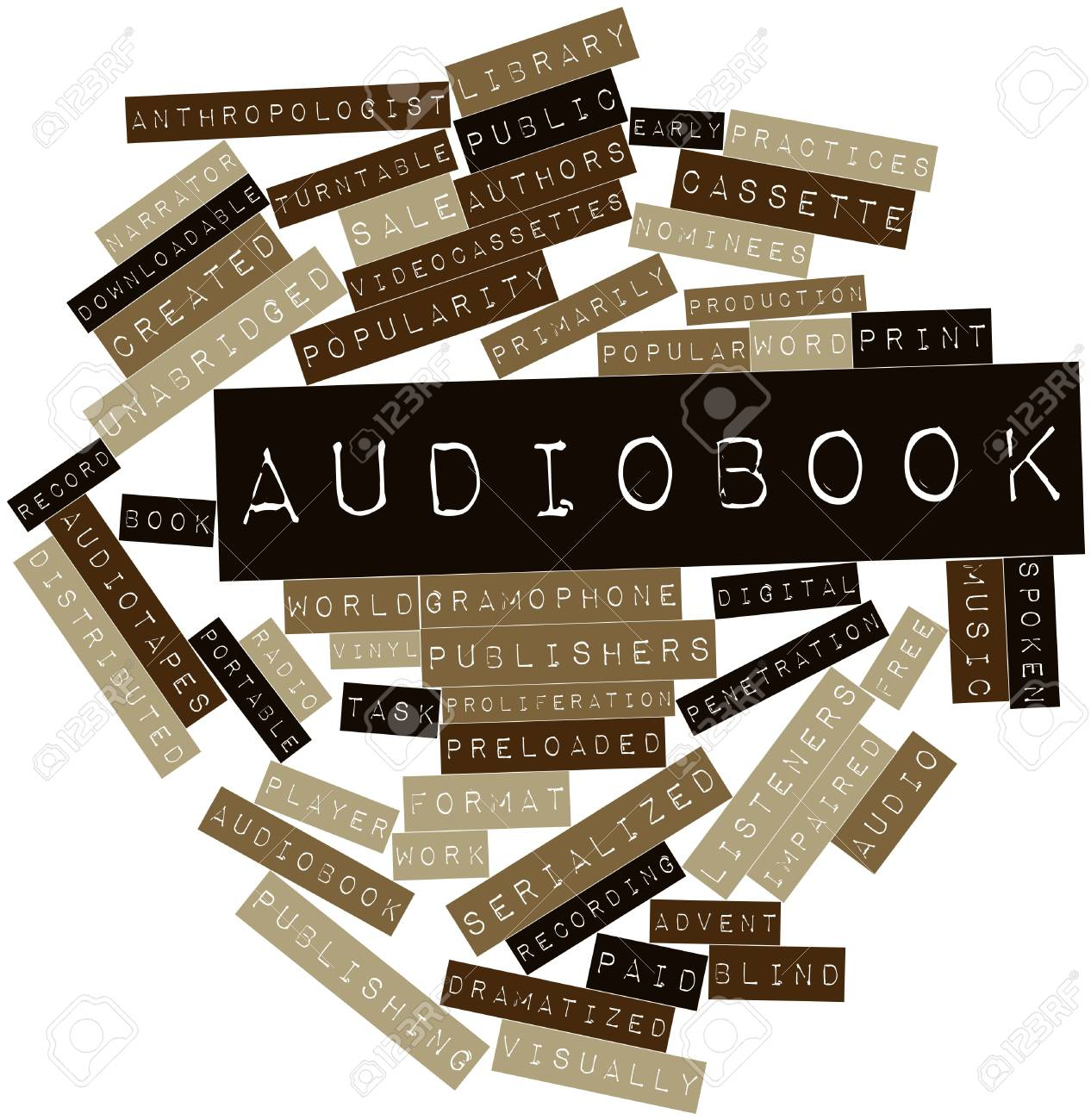 Abstract word cloud for Audiobook with related tags and terms Stock Photo - 16982709