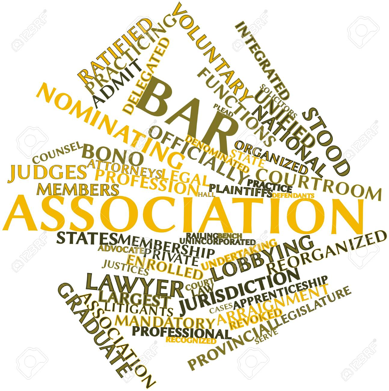 Abstract word cloud for Bar association with related tags and