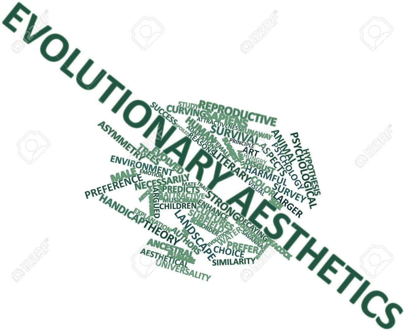 Abstract word cloud for Evolutionary aesthetics with related tags and terms Stock Photo - 16982678