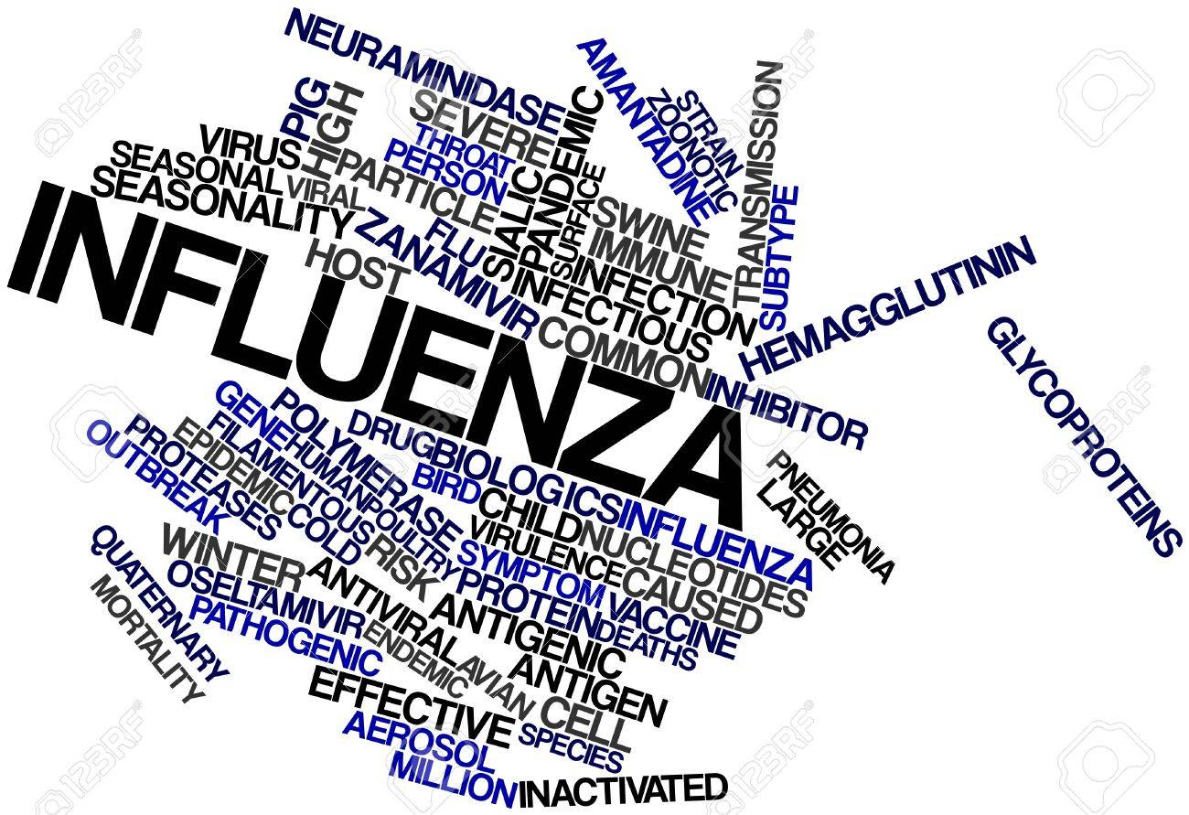 Abstract word cloud for Influenza with related tags and terms Stock Photo - 16983045