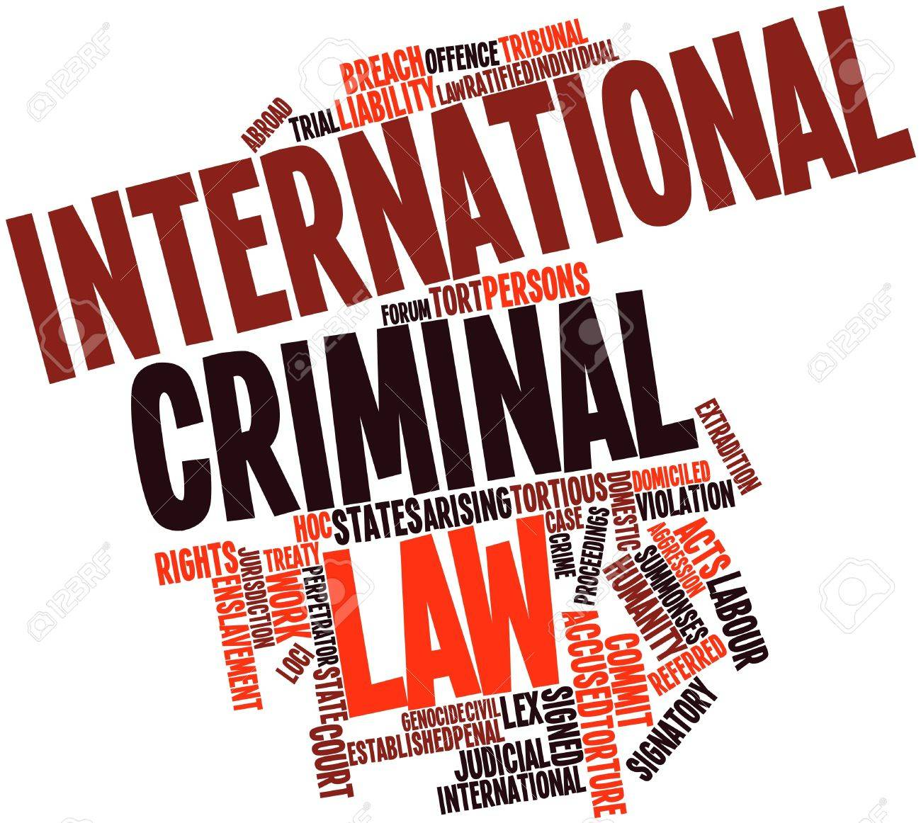 Abstract word cloud for International criminal law with related