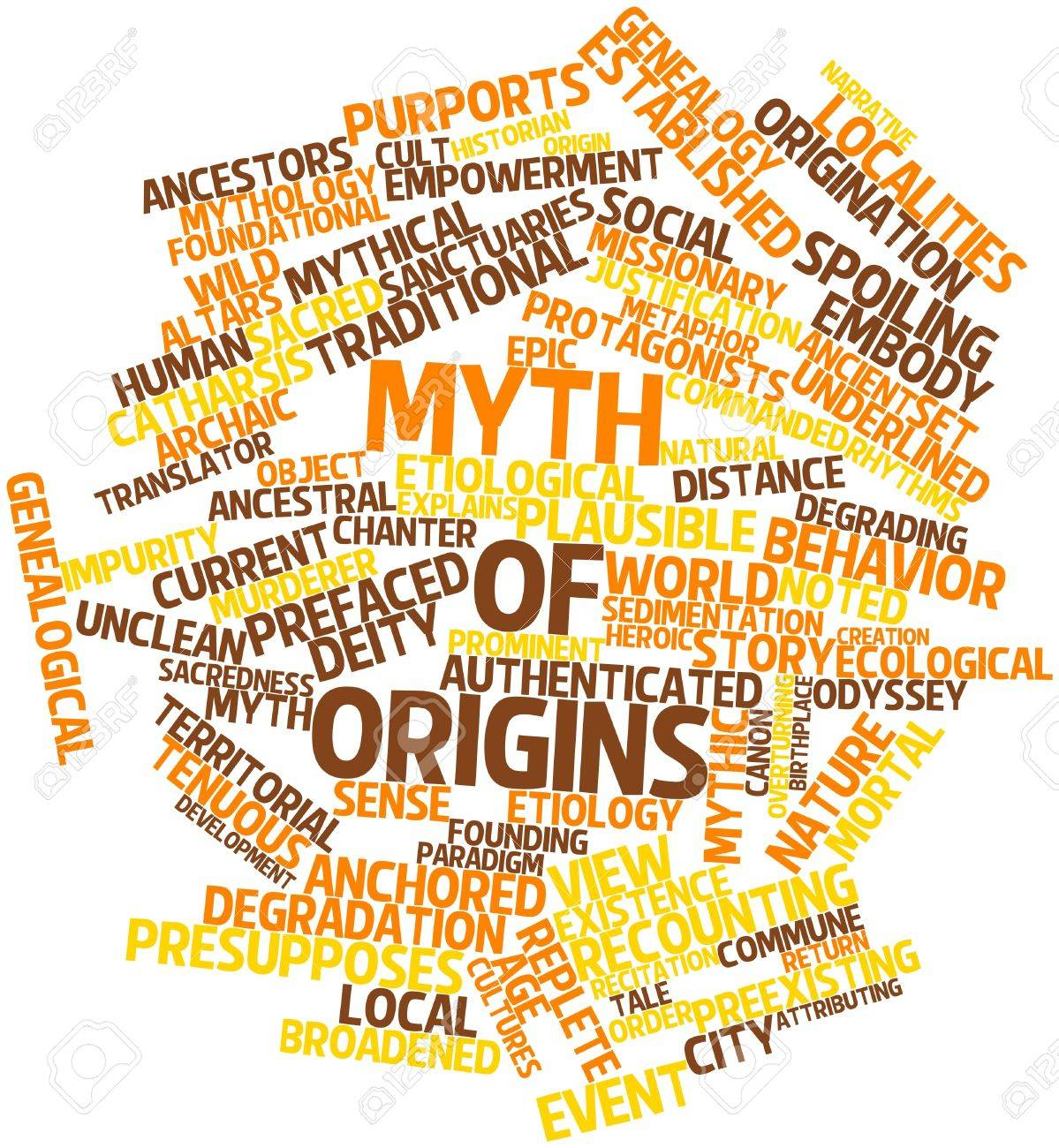 Abstract word cloud for Myth of origins with related tags and terms Stock  Photo - 16983728