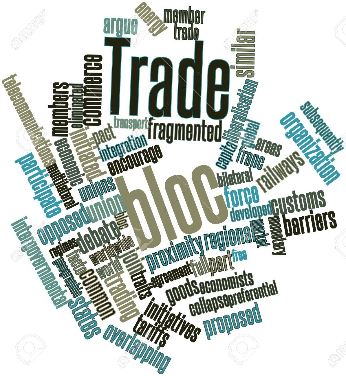 Abstract word cloud for Trade bloc with related tags and terms Stock Photo - 16983692