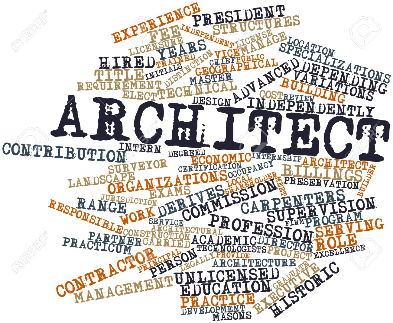 Abstract word cloud for Architect with related tags and terms Stock Photo - 17029824