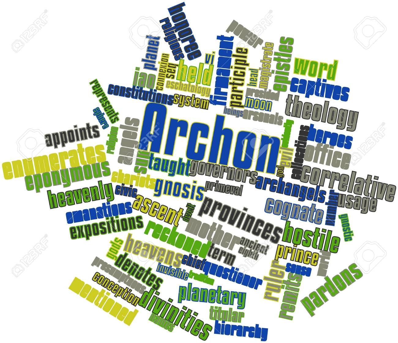 Abstract word cloud for Archon with related tags and terms - 17024325