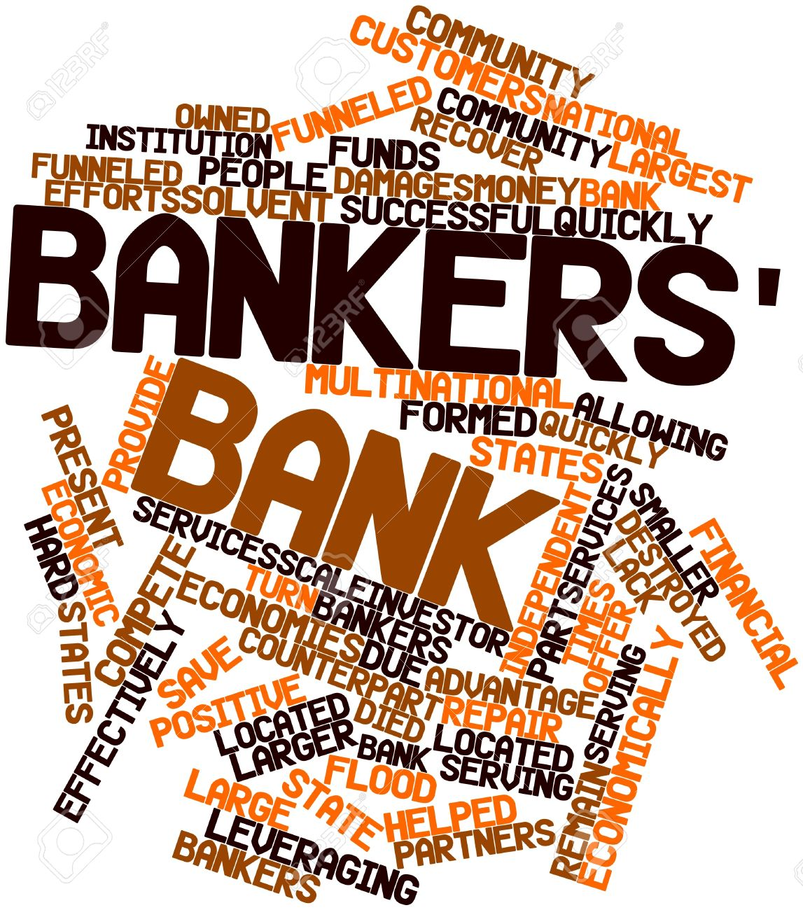 abstract word cloud for bankers bank with related tags and terms