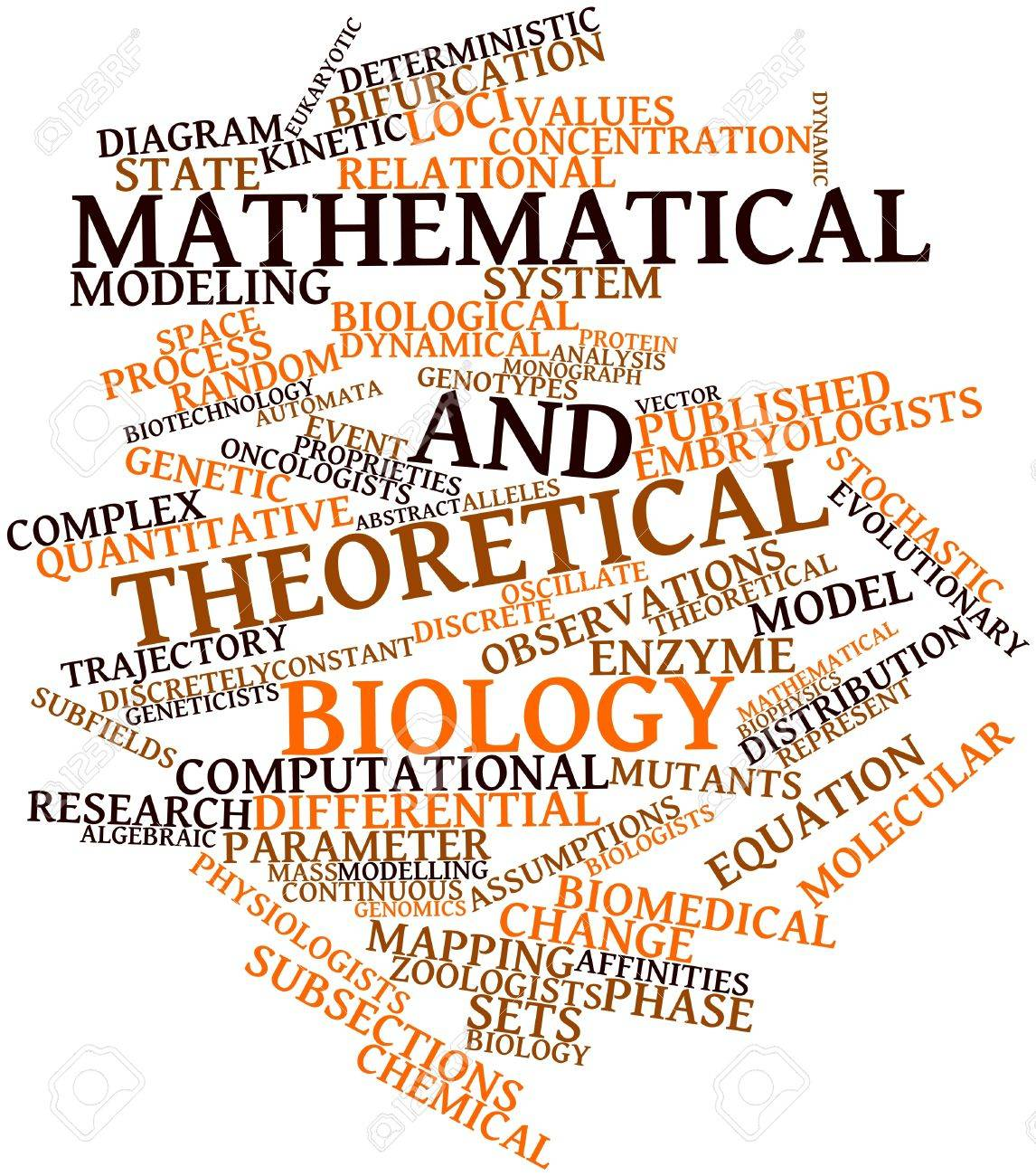 Abstract word cloud for Mathematical and theoretical biology with related tags and terms Stock Photo - 17024575