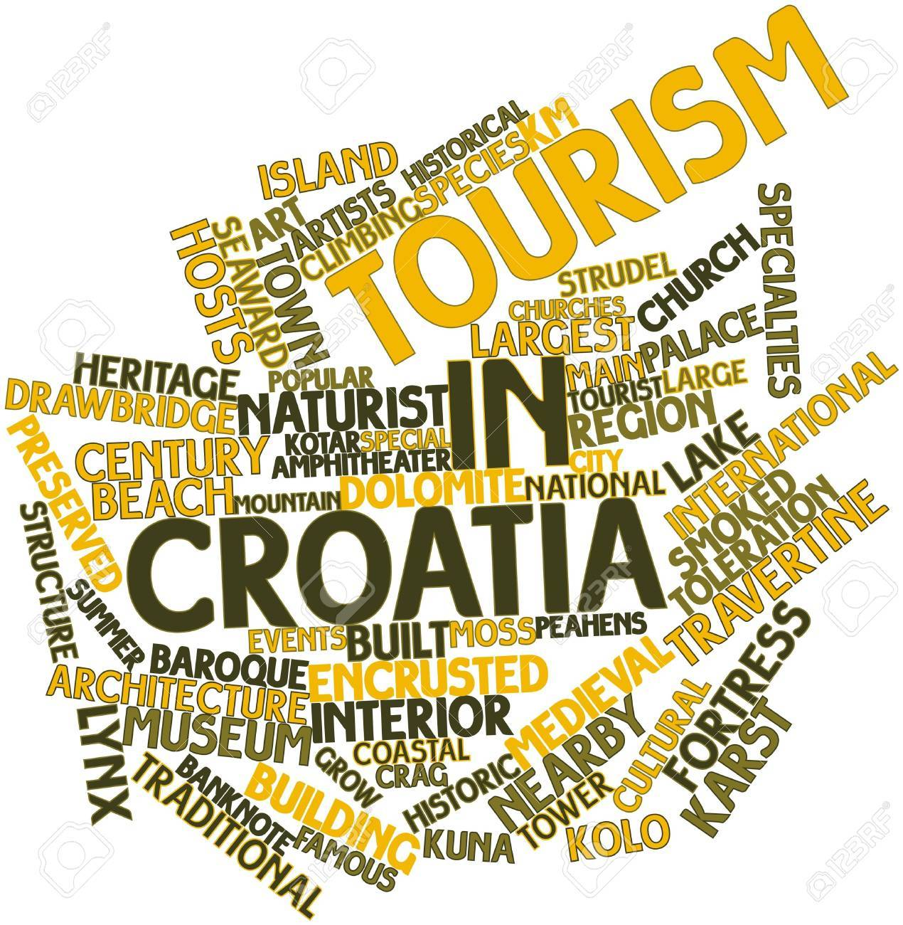 Abstract word cloud for Tourism in Croatia with related tags and terms Stock Photo - 17030899