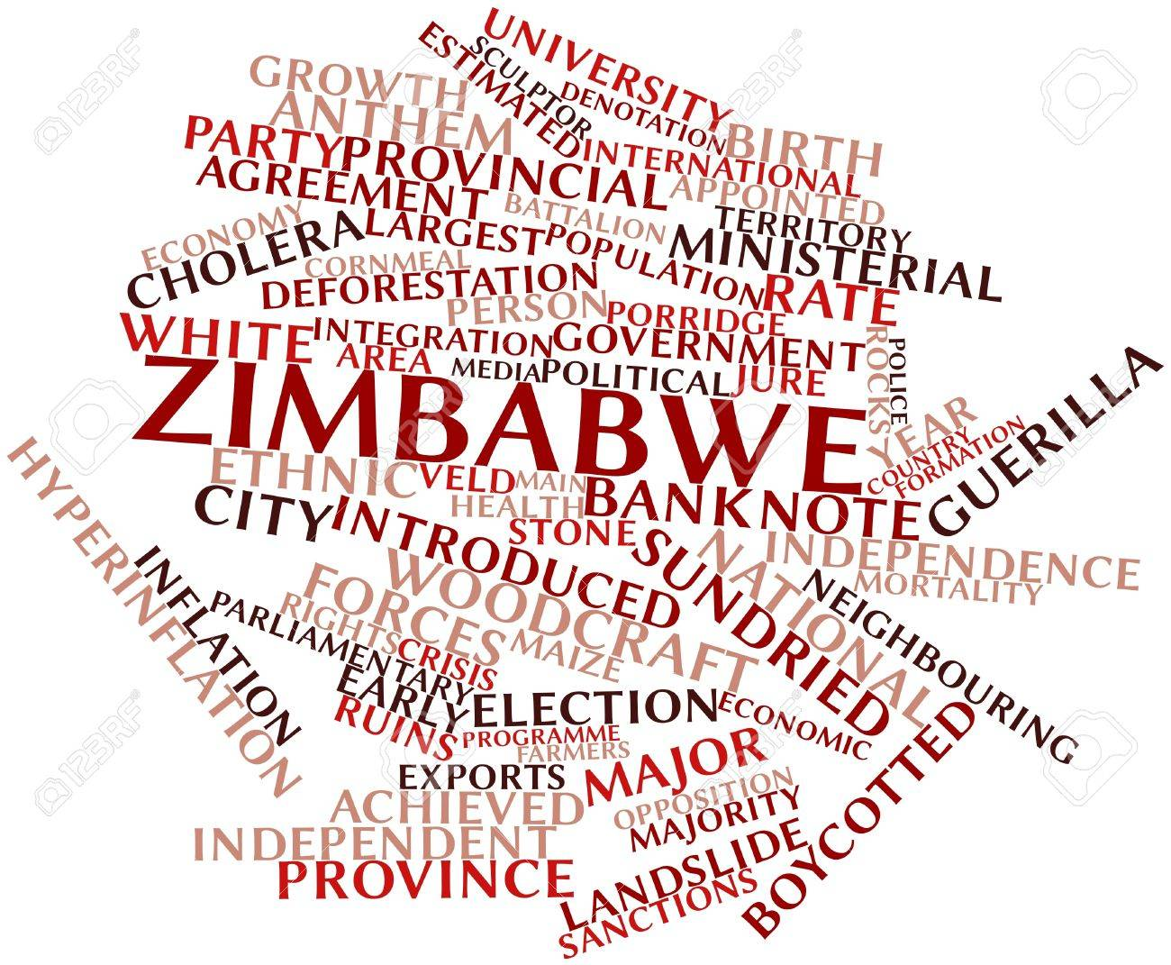 Abstract word cloud for Zimbabwe with related tags and terms Stock Photo - 17023791