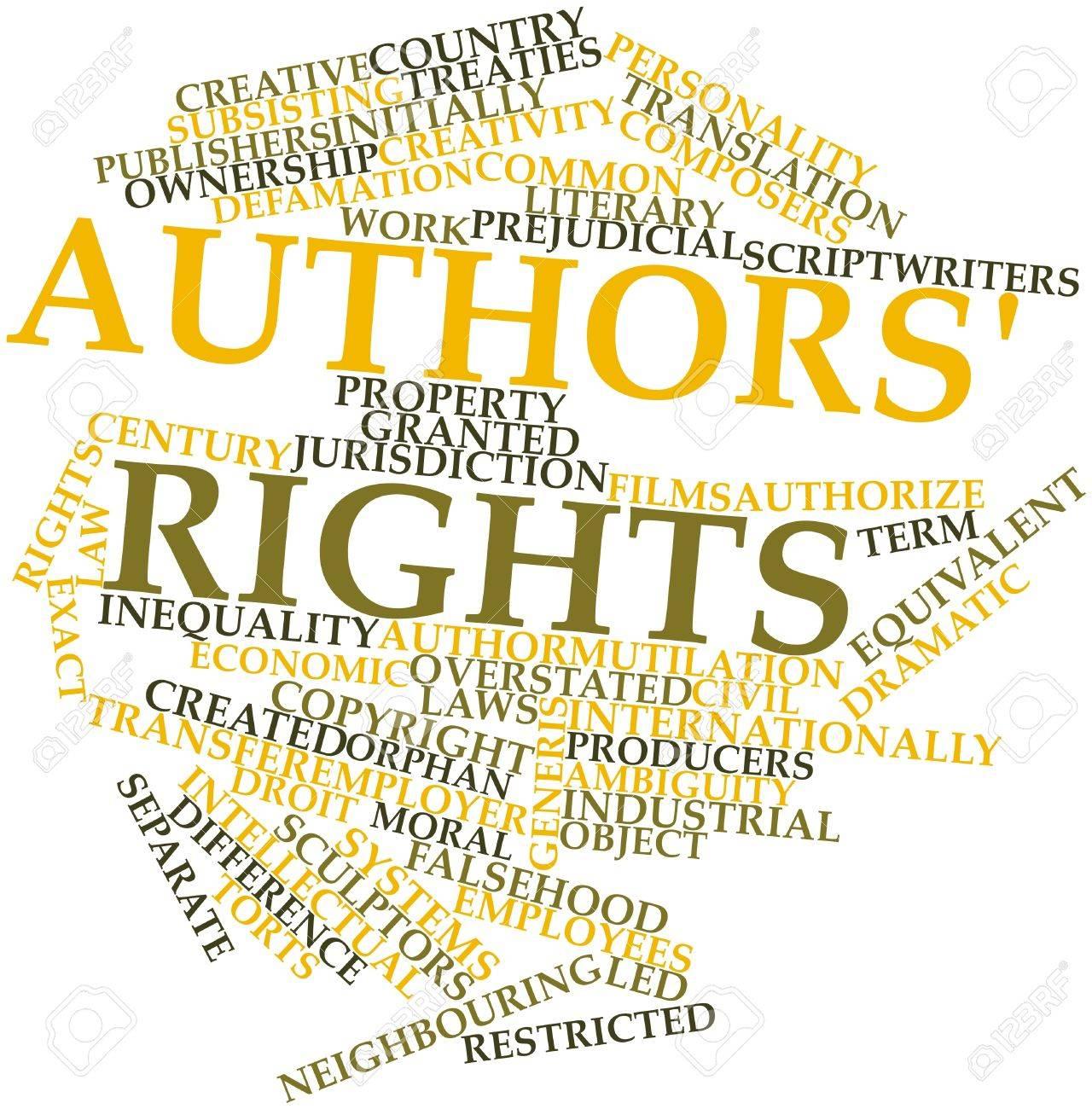 Nube De La Palabra Abstracta De Los Derechos De Los Autores Con Las