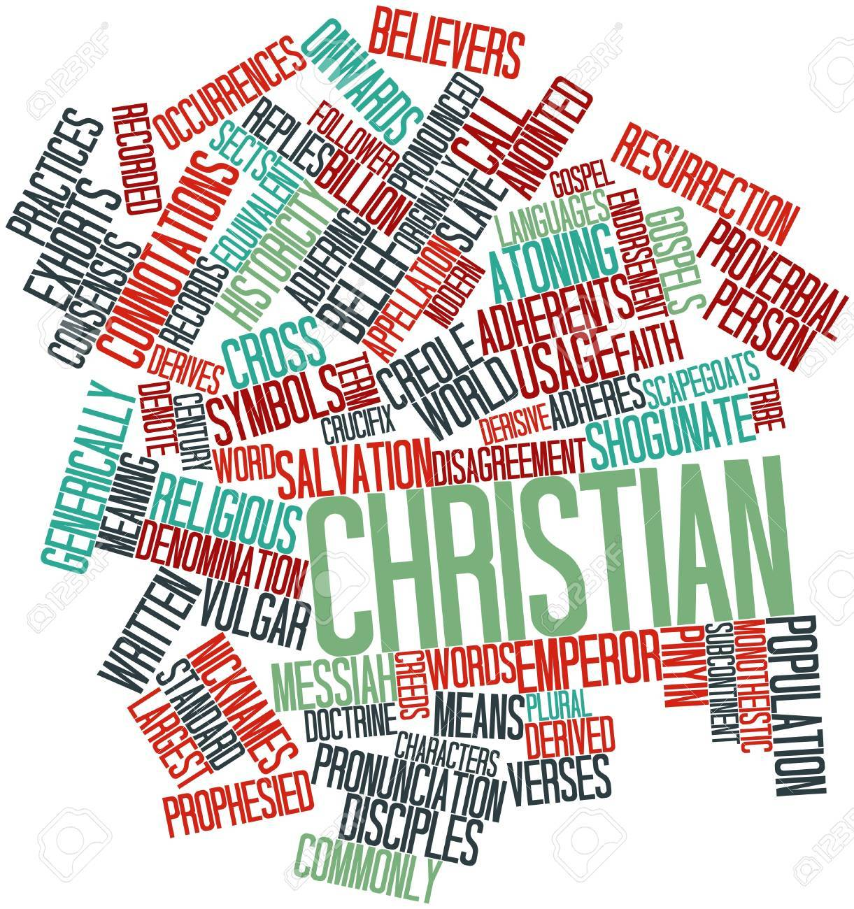 Abstract word cloud for Christian with related tags and terms Stock Photo - 17149672