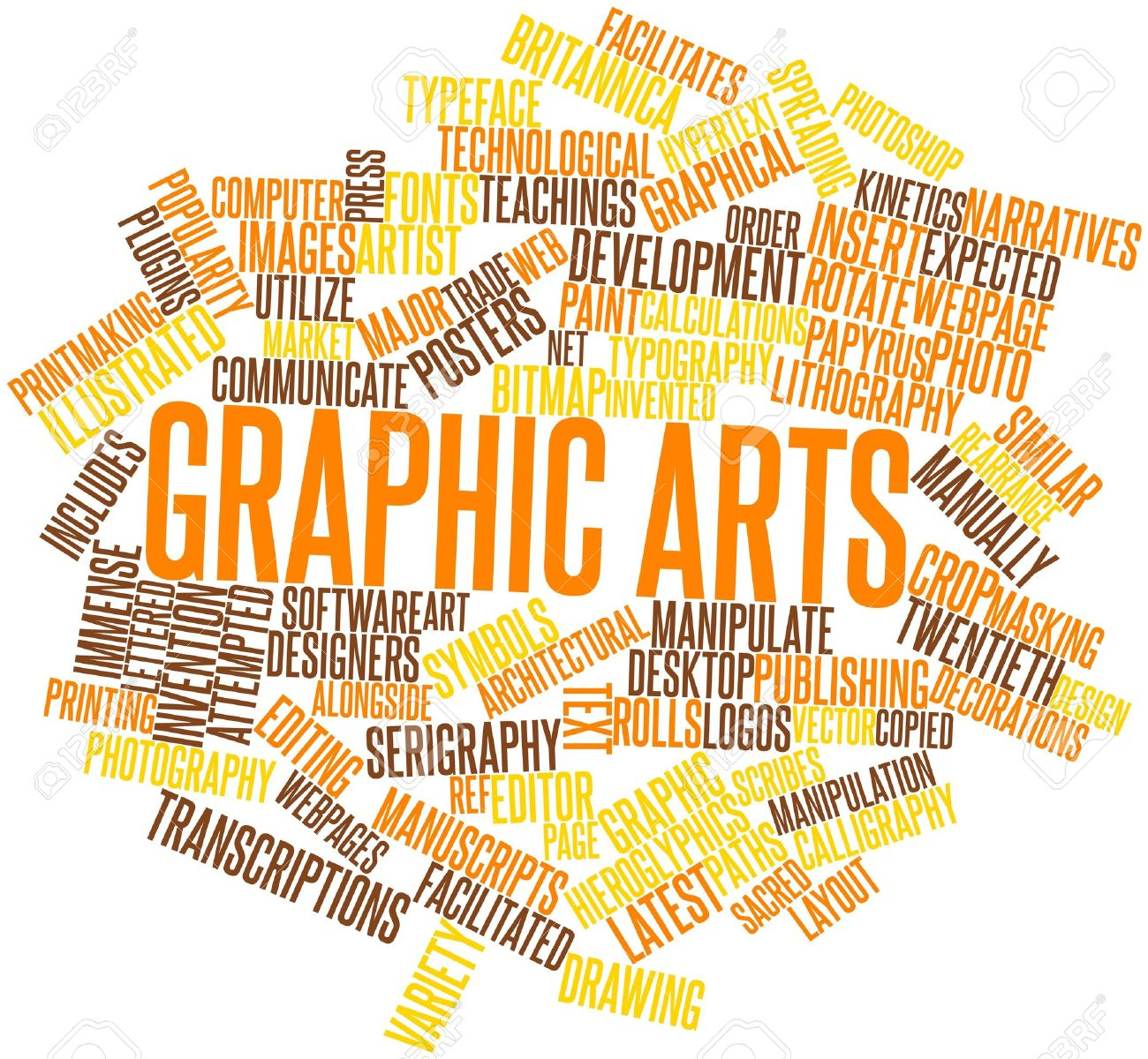 abstract word cloud for graphic arts with related tags and terms