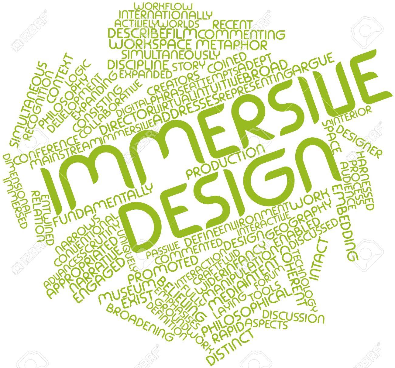 Abstract word cloud for Immersive design with related tags and terms Stock Photo - 17148964