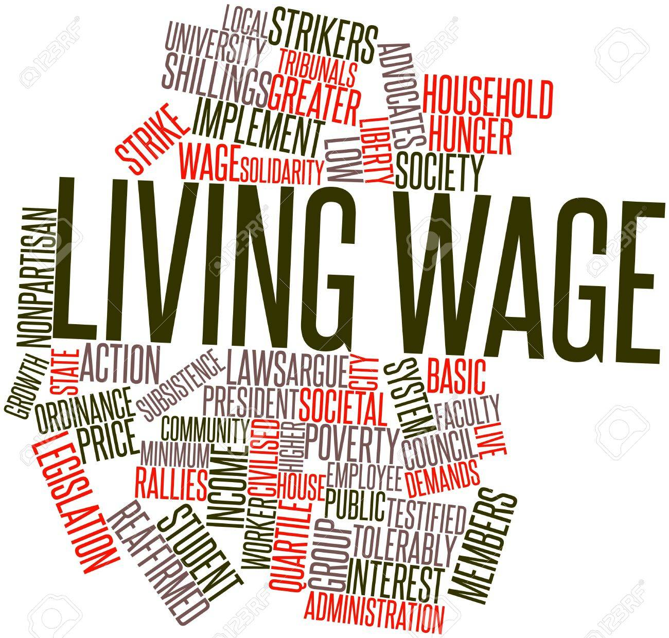 Abstract word cloud for Living wage with related tags and terms Stock Photo - 17148903