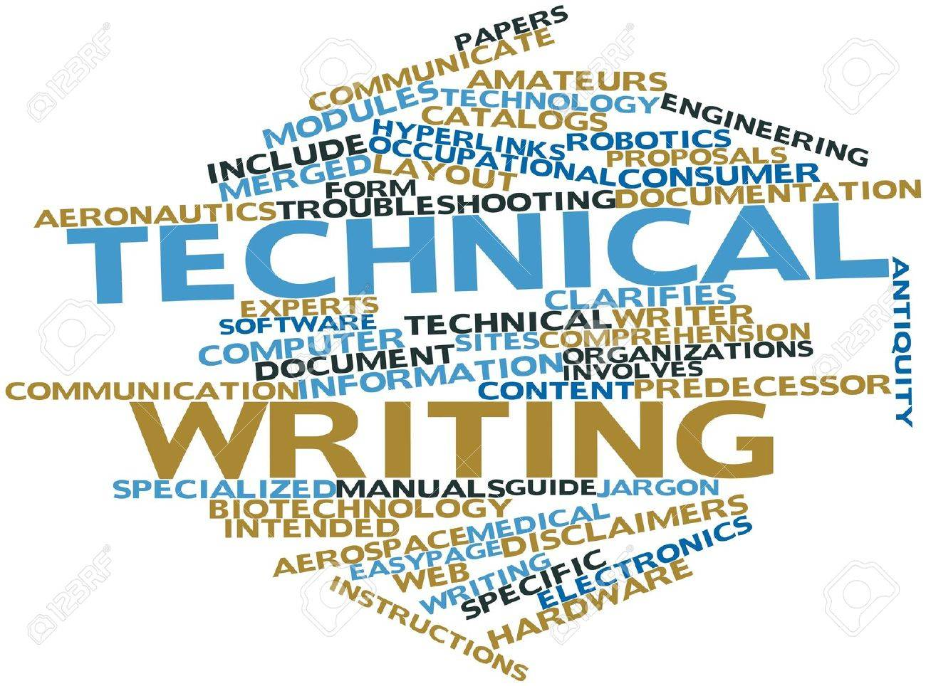 abstract word cloud for technical writing with related tags and
