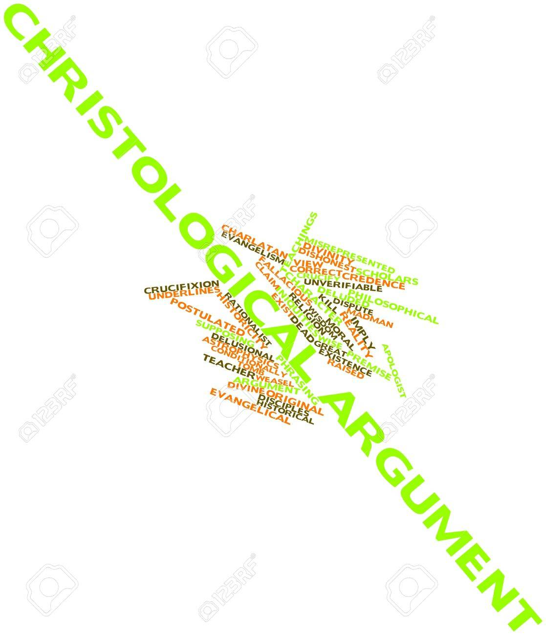 Abstract word cloud for Christological argument with related tags and terms Stock Photo - 17196372