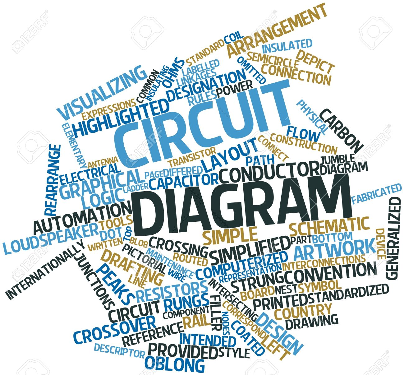 Abstract Word Cloud For Circuit Diagram With Related Tags And ...