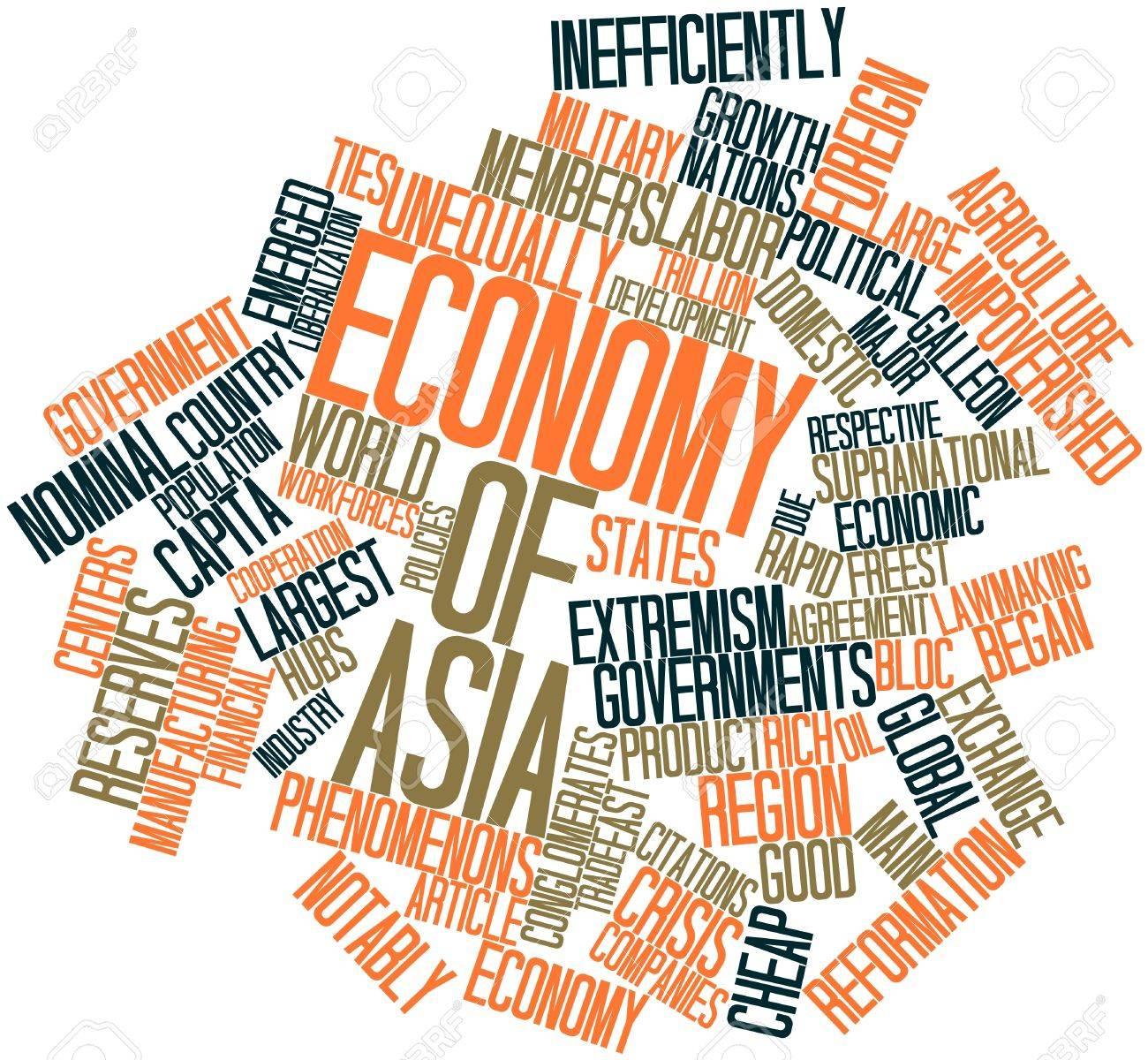 Abstract word cloud for Economy of Asia with related tags and terms Stock Photo - 17198391
