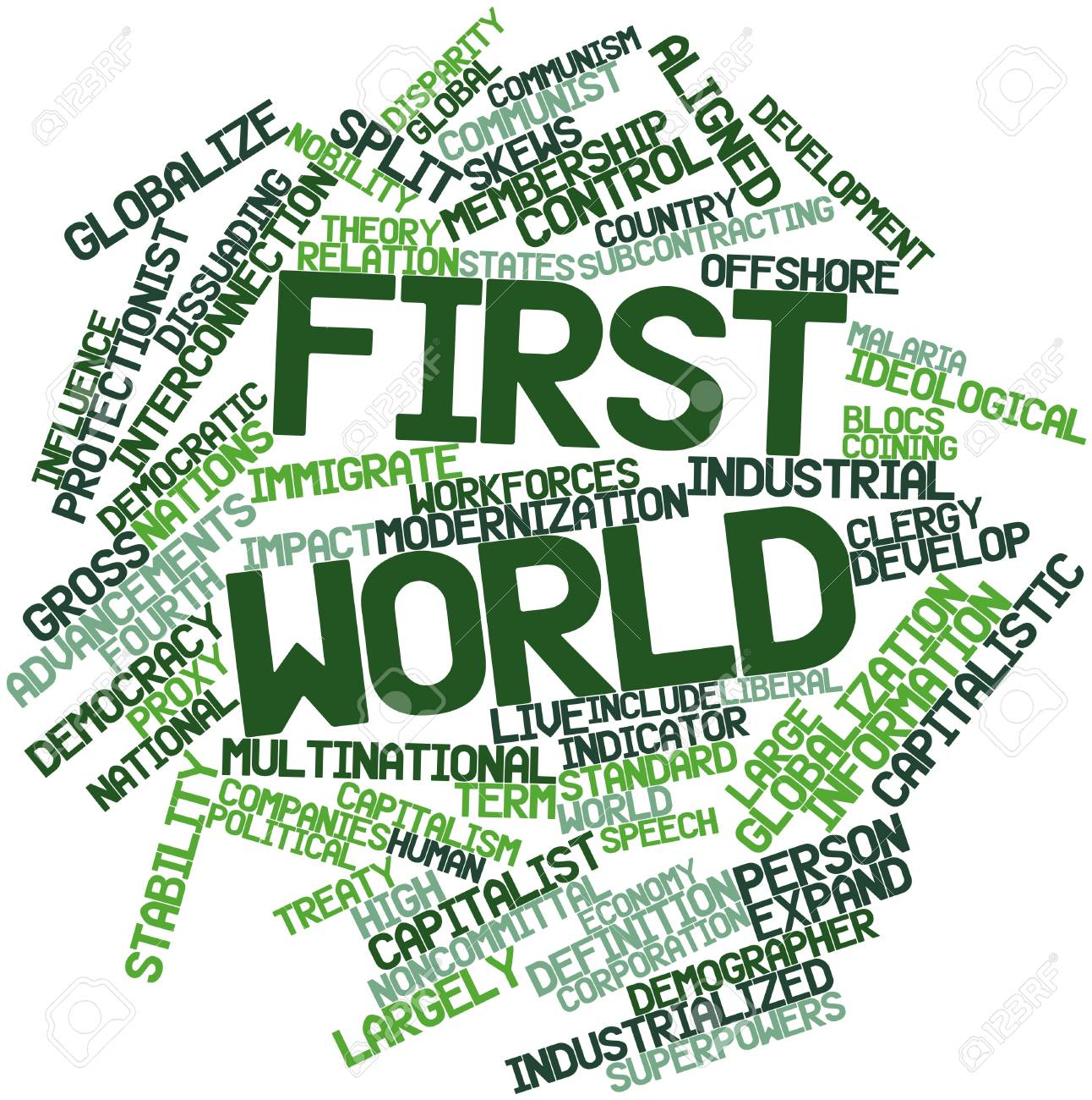 Abstract word cloud for First World with related tags and terms Stock Photo - 17197960