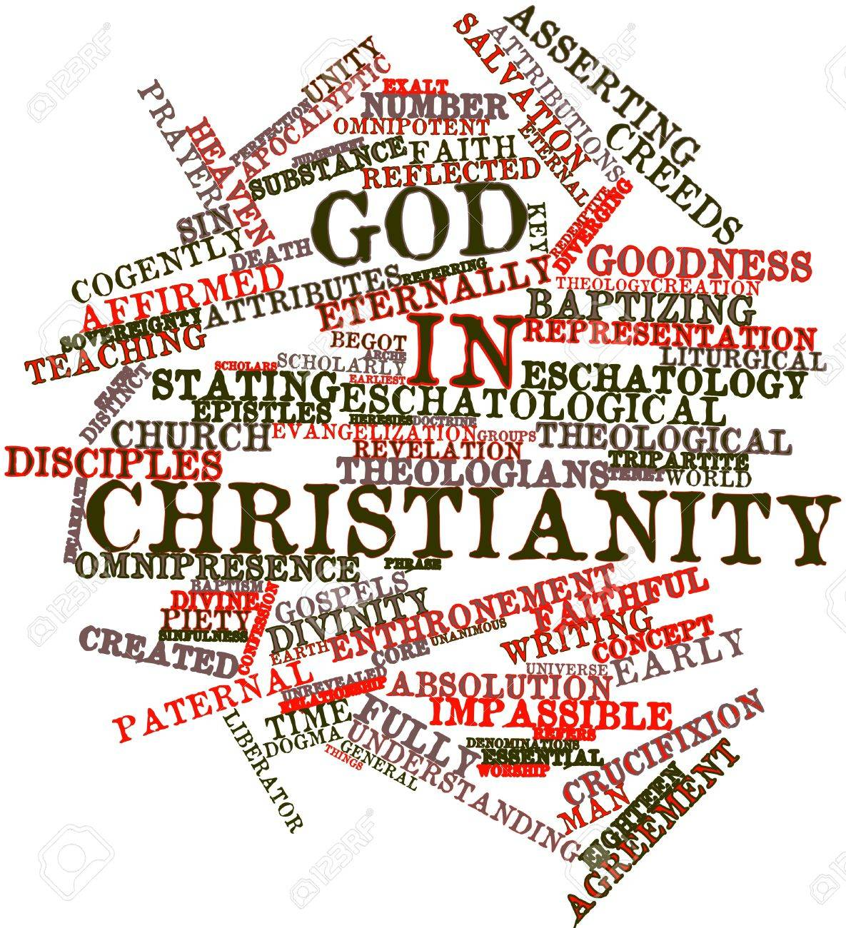 Abstract word cloud for God in Christianity with related tags and terms Stock Photo - 17198379