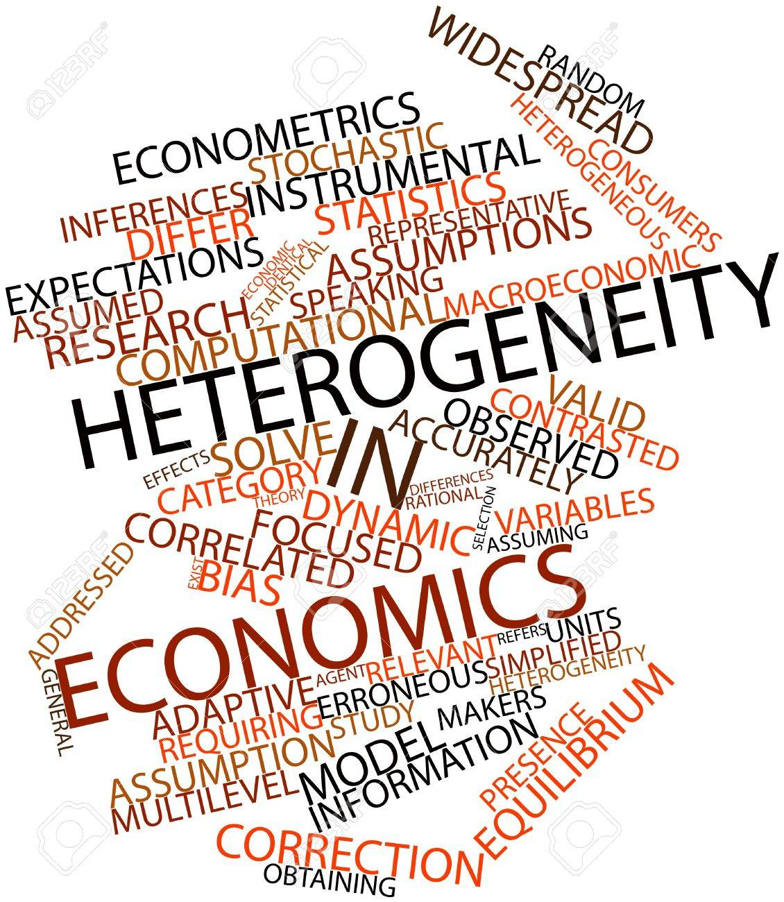 Abstract word cloud for Heterogeneity in economics with related tags and terms Stock Photo - 17197929
