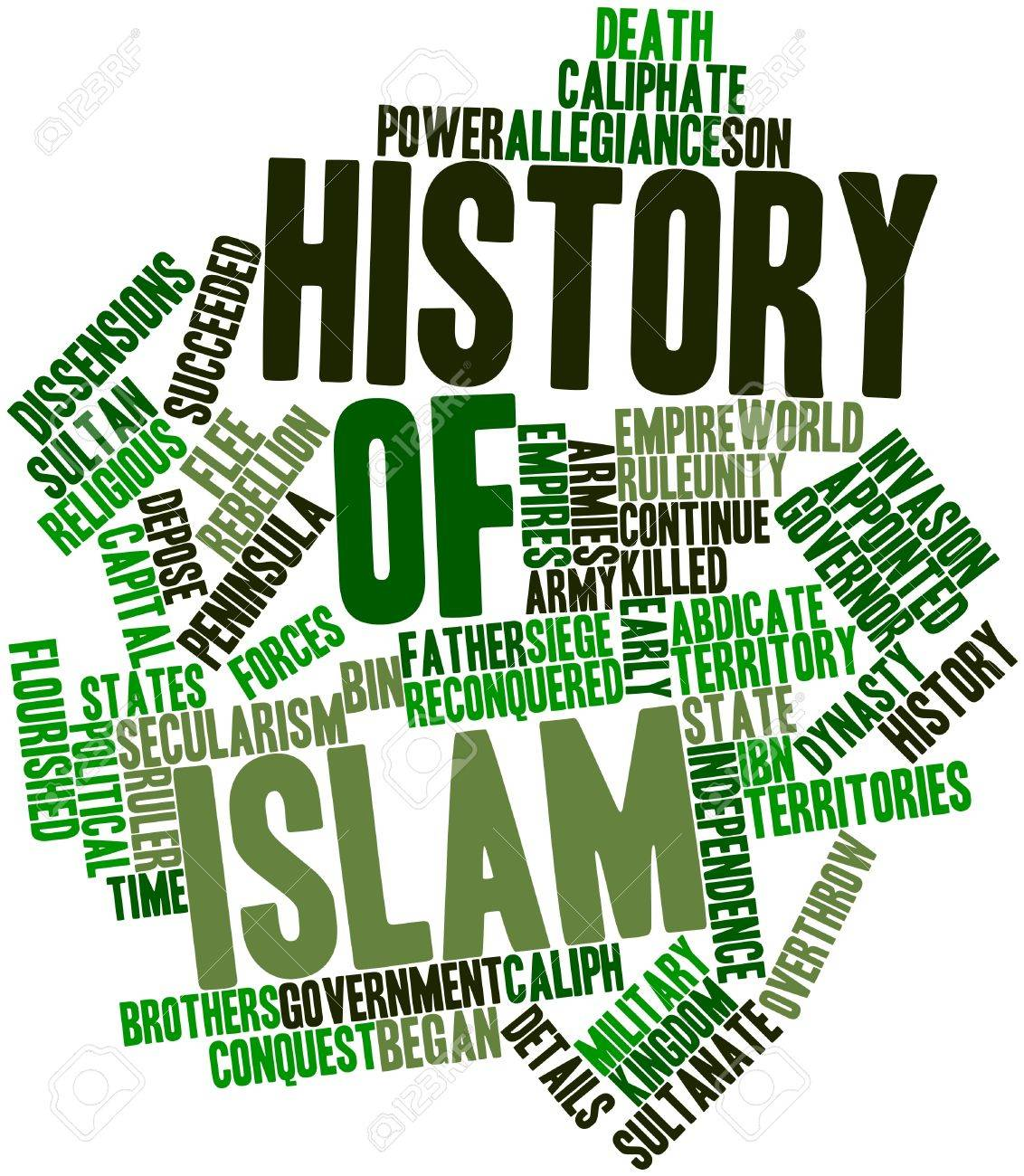 Abstract word cloud for History of Islam with related tags and terms Stock Photo - 17197599