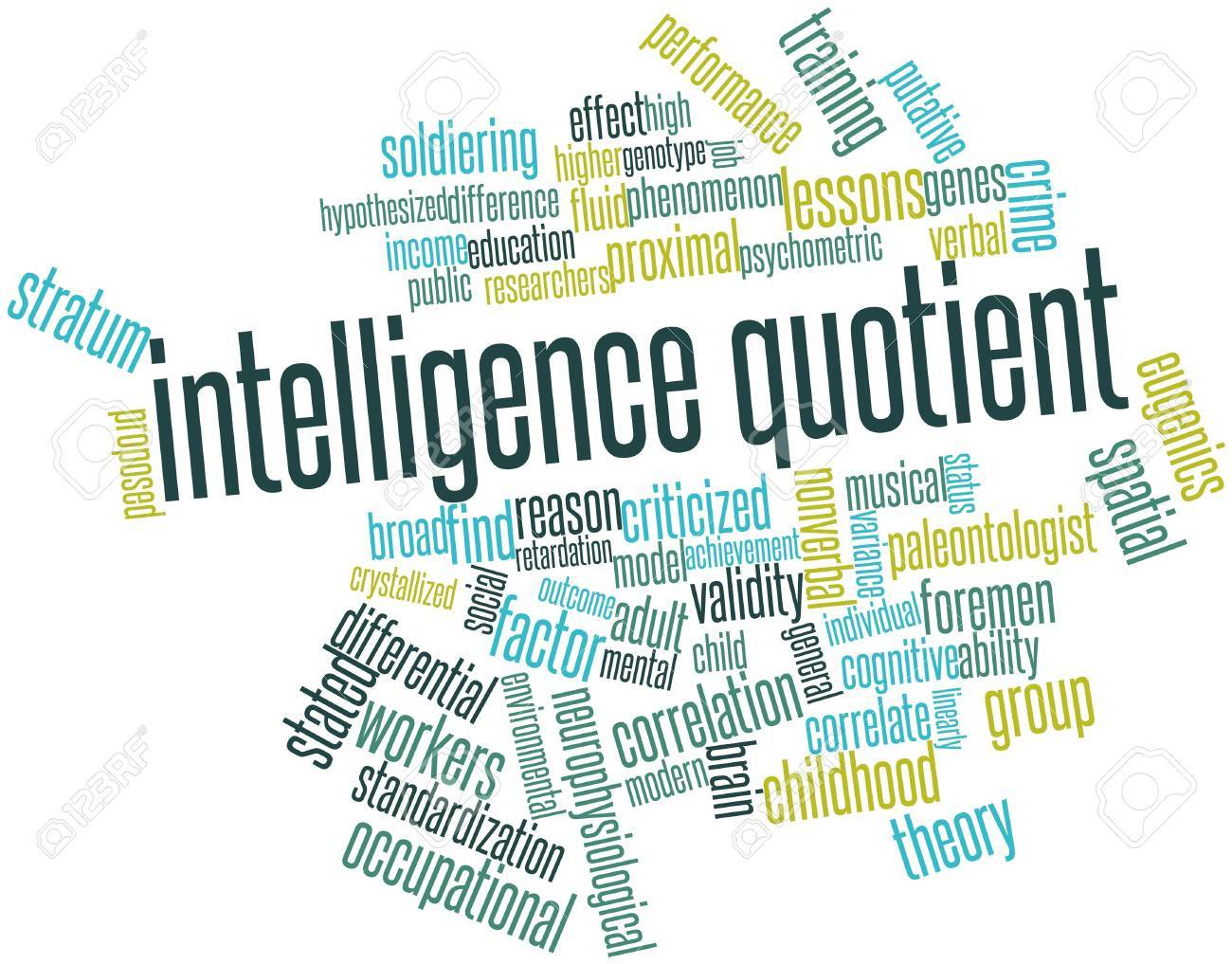 Abstract word cloud for Intelligence quotient with related tags and terms Stock Photo - 17197290