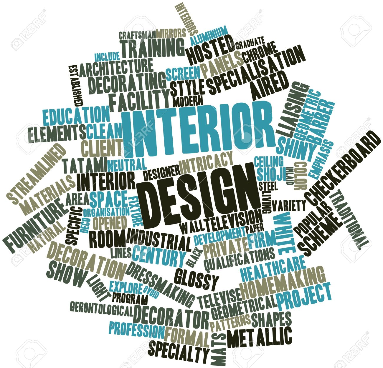 Abstract Word Cloud For Interior Design With Related Tags And Terms Stock Photo