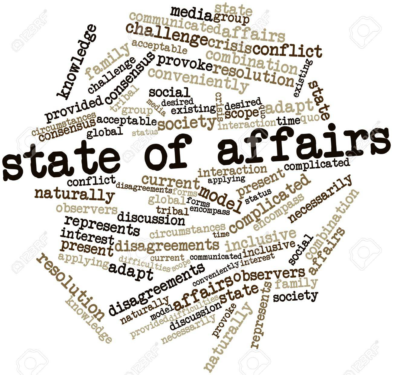 Abstract word cloud for State of affairs with related tags and terms Stock Photo - 17197918