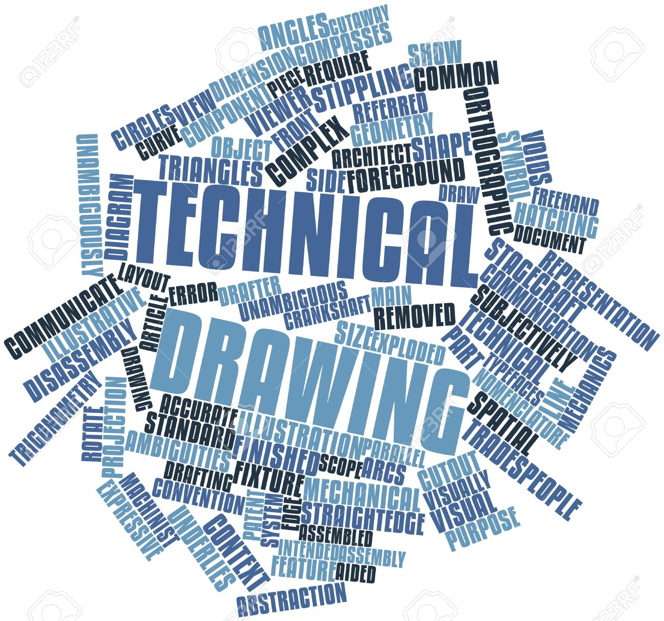 abstract word cloud for technical drawing with related tags and