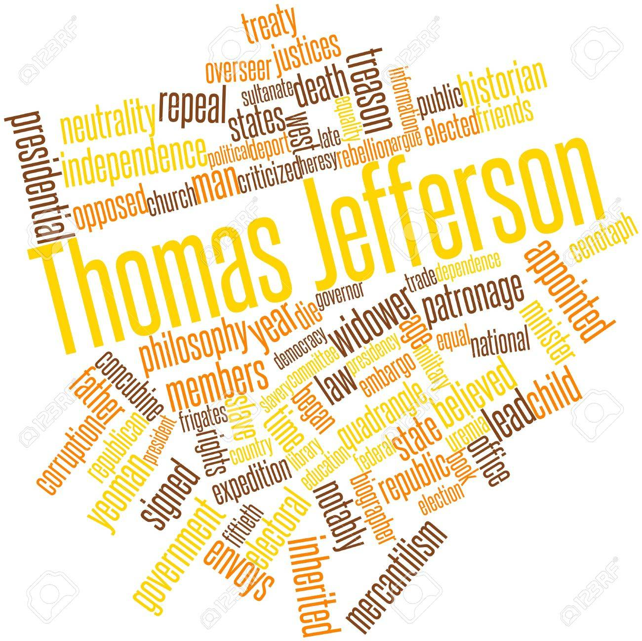 Abstract word cloud for Thomas Jefferson with related tags and terms Stock Photo - 17198349