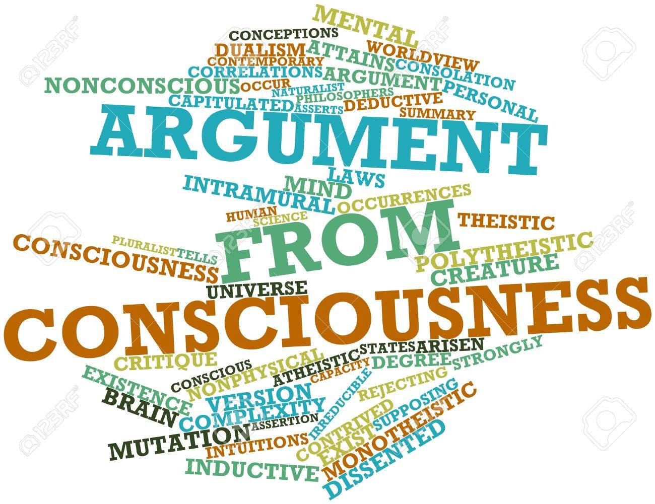 Abstract word cloud for Argument from consciousness with related tags and terms Stock Photo - 17319509