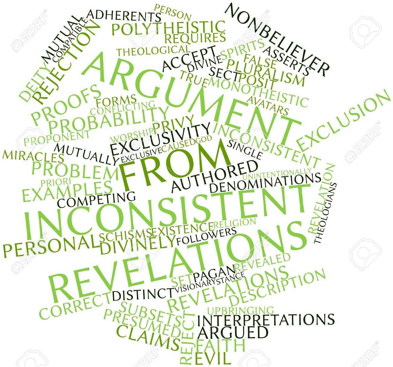 Abstract word cloud for Argument from inconsistent revelations with related tags and terms Stock Photo - 17319652